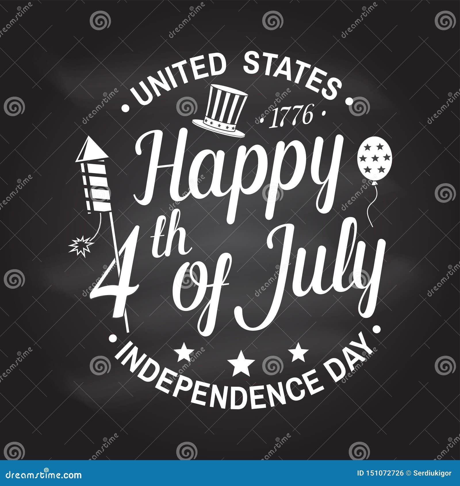Tappning 4th av den juli designen i retro stil Sj?lvst?ndighetsdagenh?lsningkort Patriotiskt baner f?r websitemall vektor