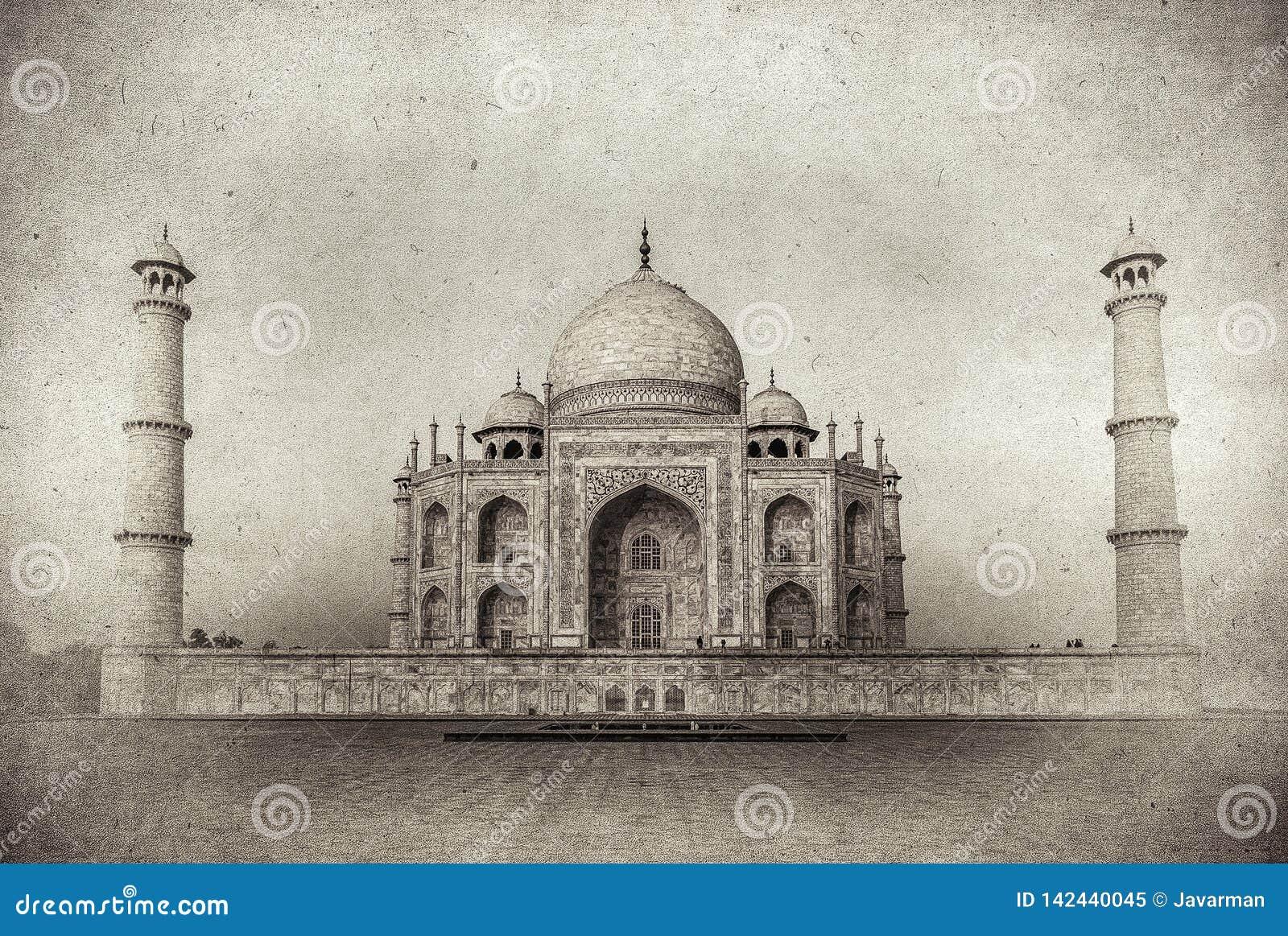 Tappningbild av Taj Mahal på soluppgång, Agra, Indien