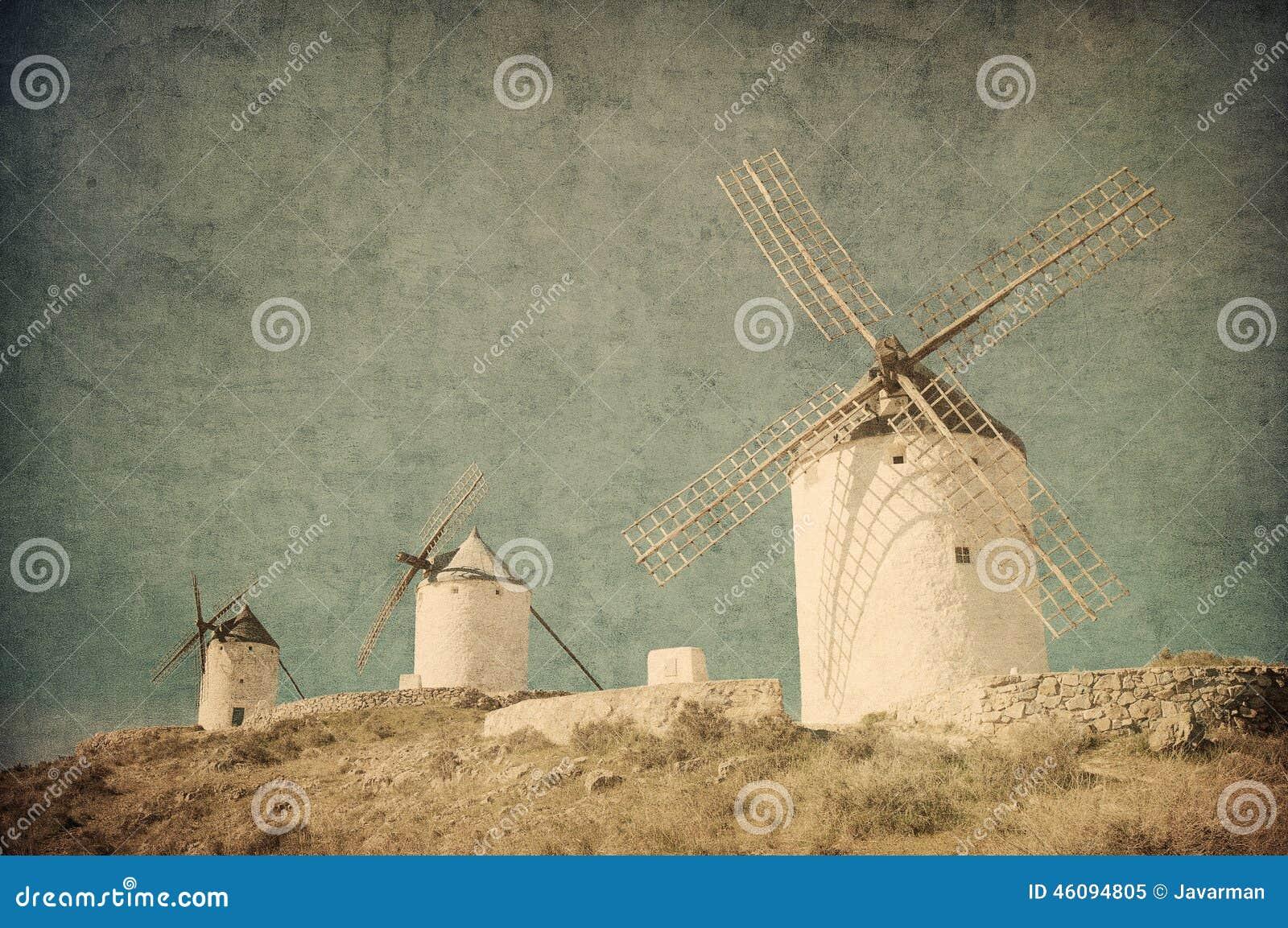 Tappningbild av väderkvarnar i Consuegra, Spanien