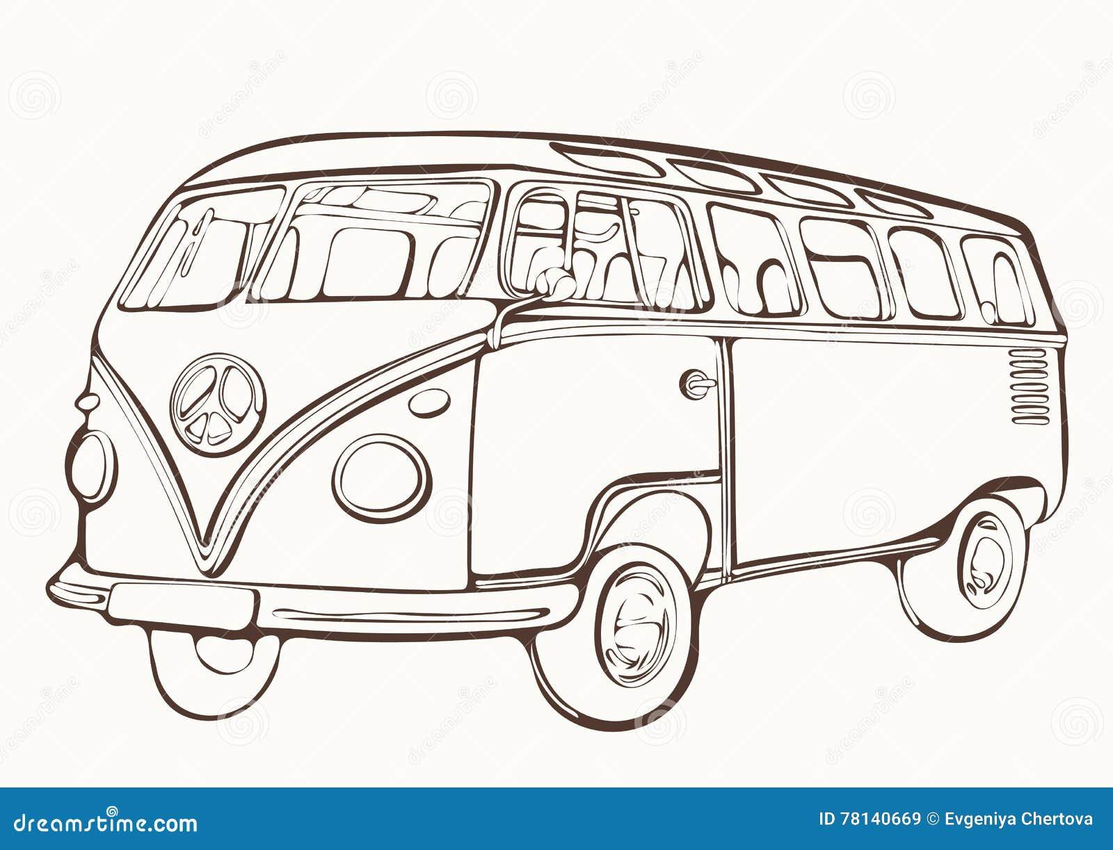 Tappningbuss, retro bil, målad färgläggningbok, hand-teckning, monokrom
