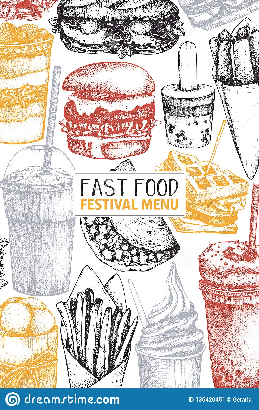 Tappningdesign för snabbmatrestaurang Mall för meny för vektorgatamat med den utdragna hamburgaren för hand, milkshake, glass, sm