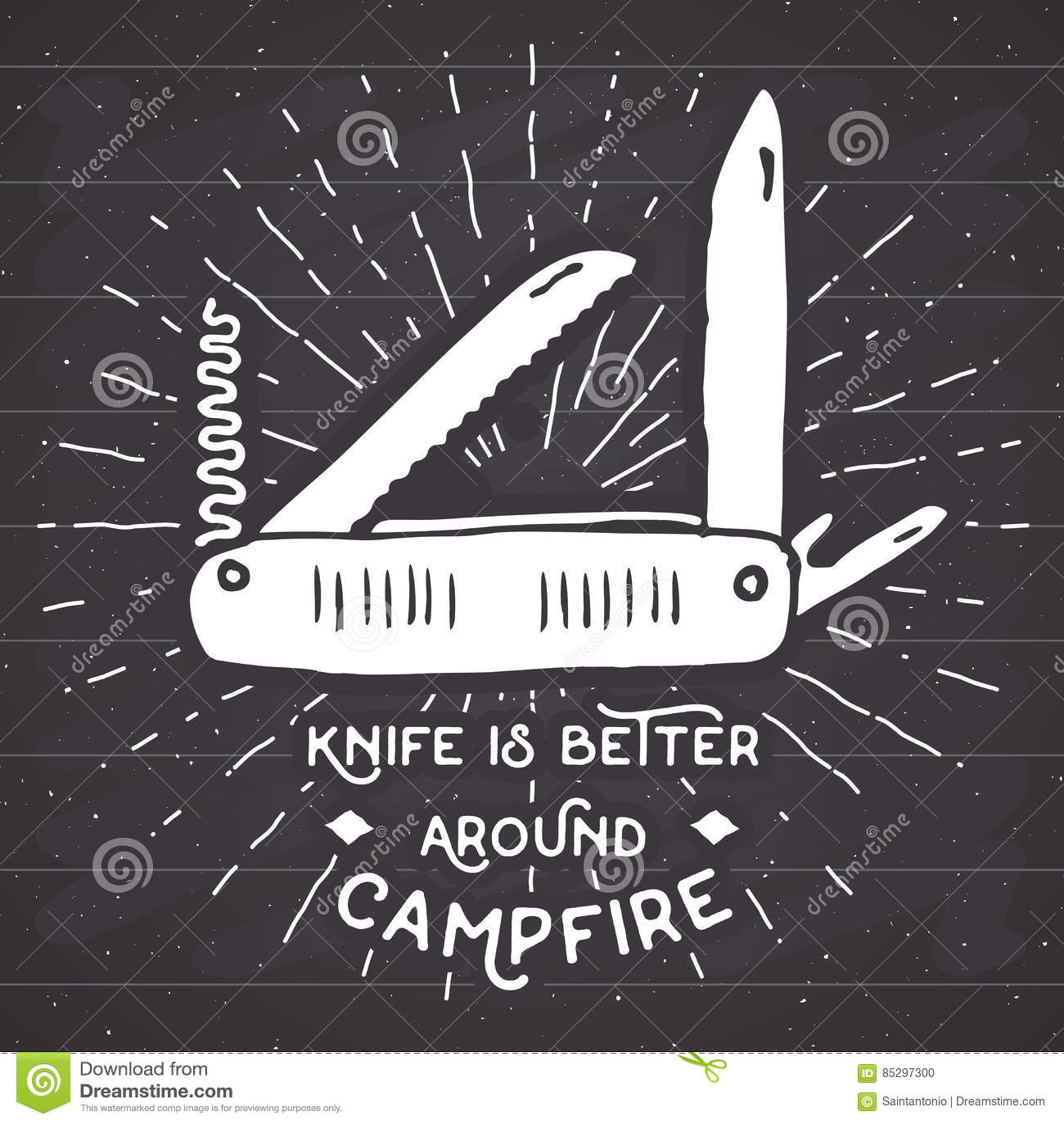 Tappningetikett, hand dragen Multifunctional fick- kniv, grunge texturerat fotvandra och campa utrustninghjälpmedel, retro emblem