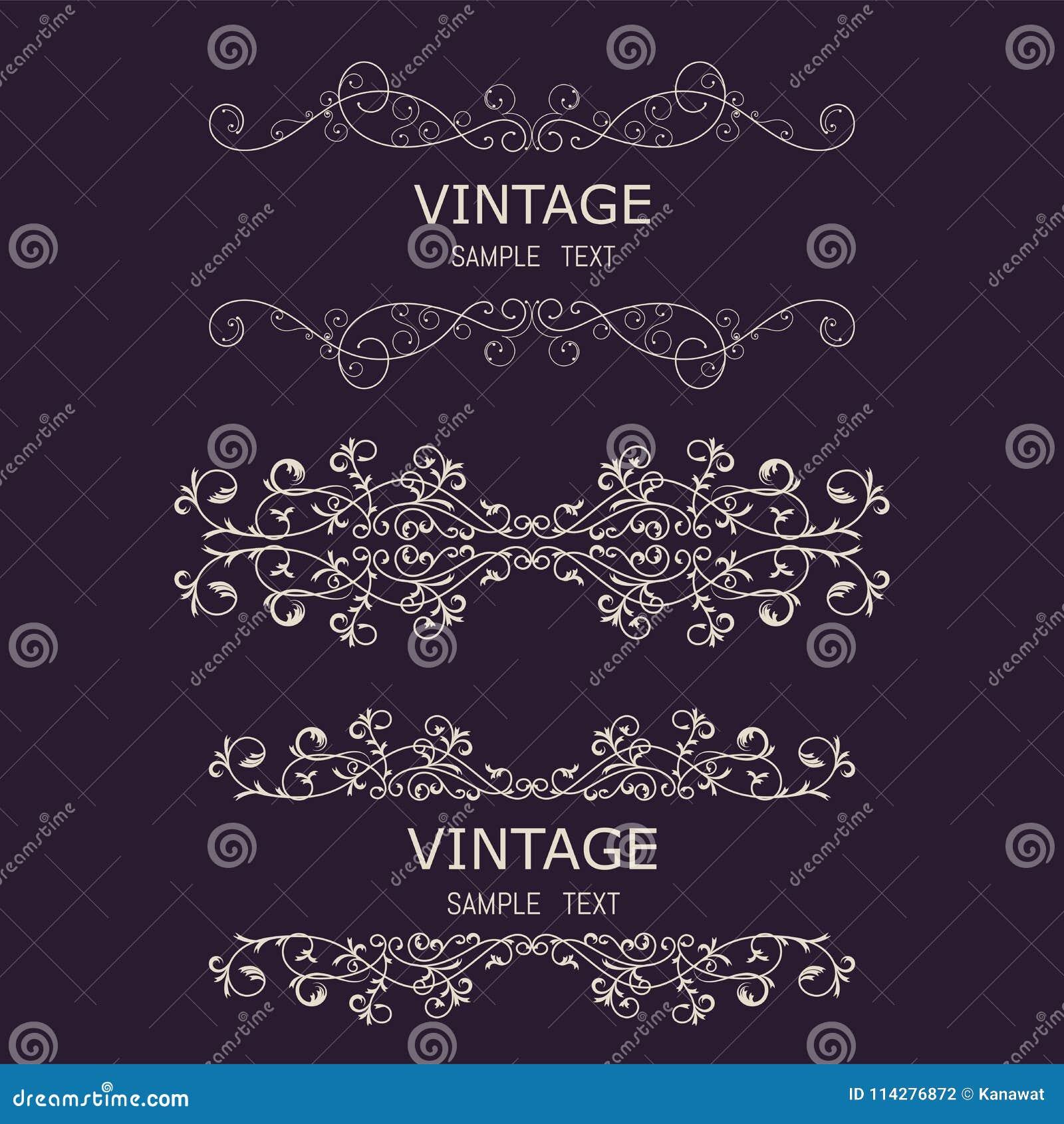 Tappninggarneringbeståndsdelar Calligraphic prydnader och ramar för krusidullar Retro stildesignsamling för inbjudningar, baner