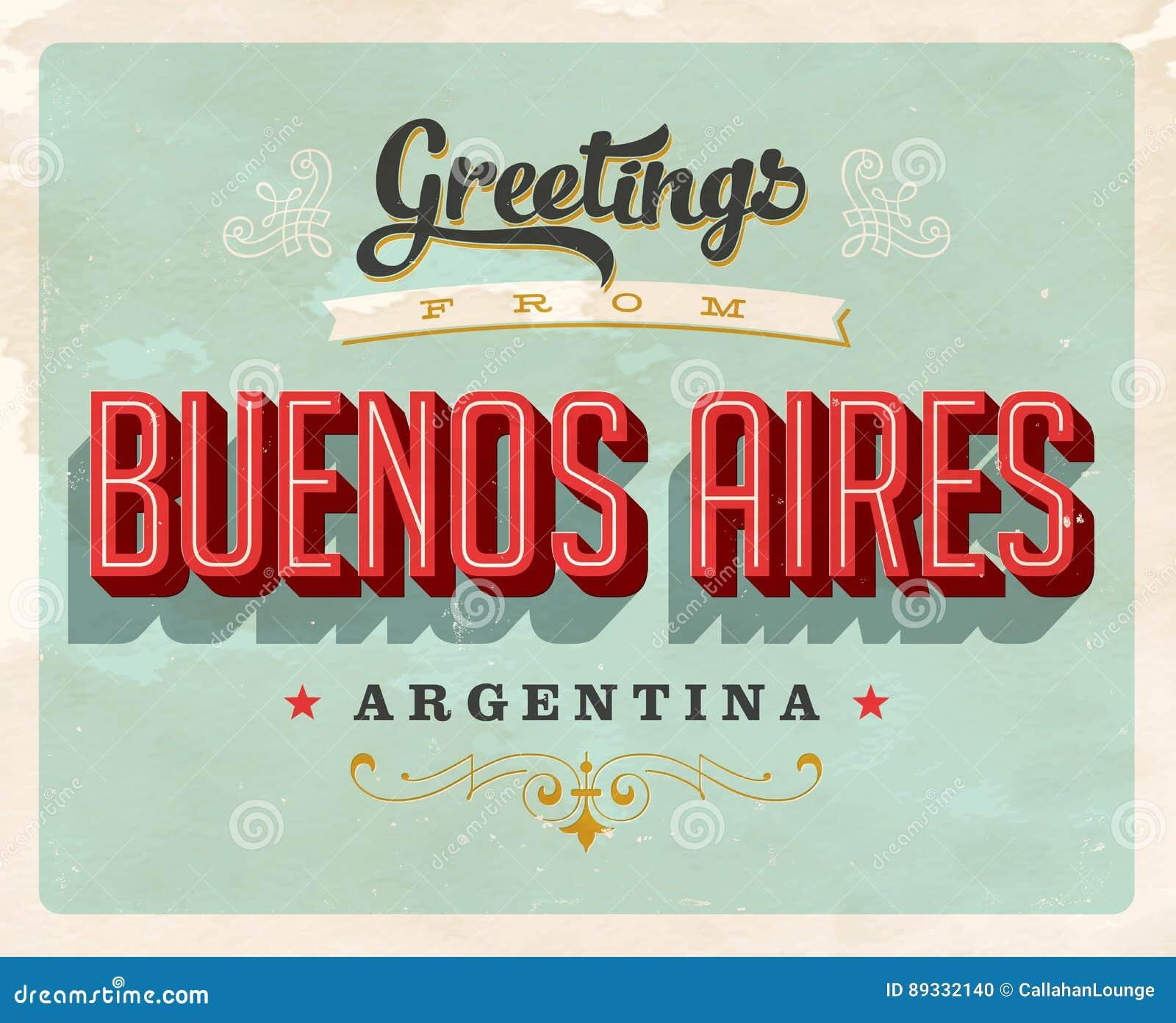 Tappninghälsningar från Buenos Aires, Argentina semesterkort