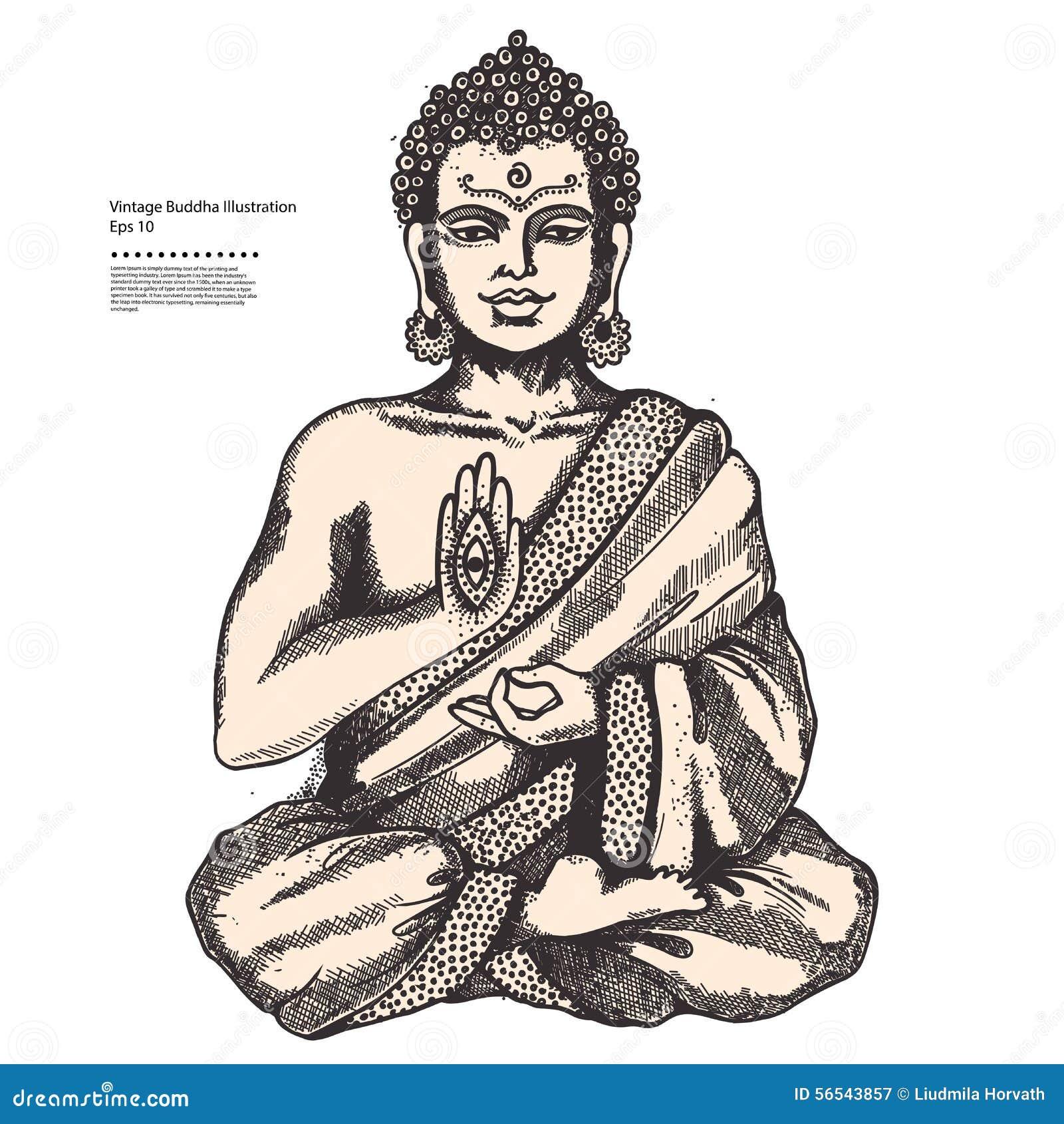 Tappningillustration med Buddha i meditation