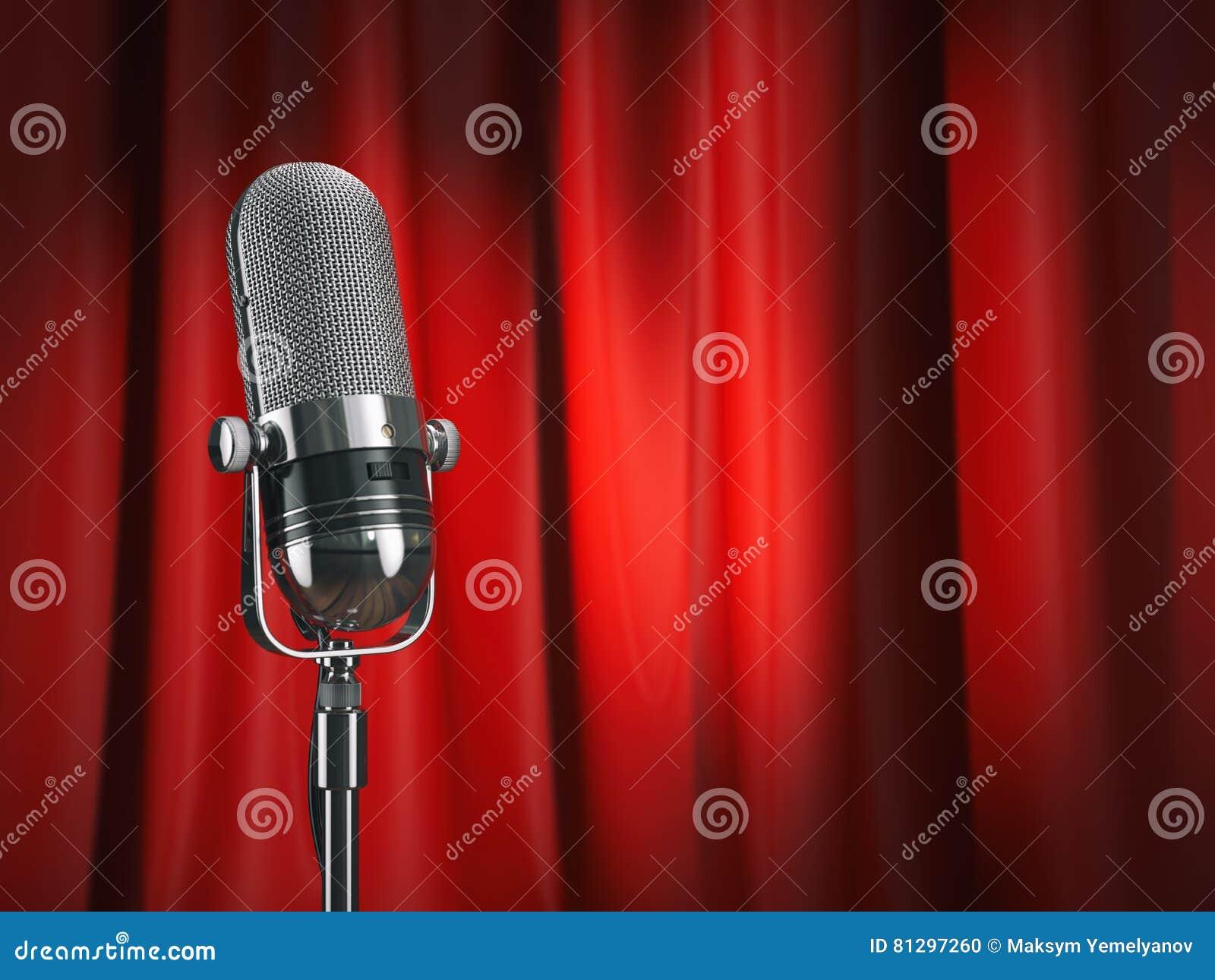 Tappningmikrofon på etapp med den röda gardinen för gitarrillustration för begrepp elektrisk musik