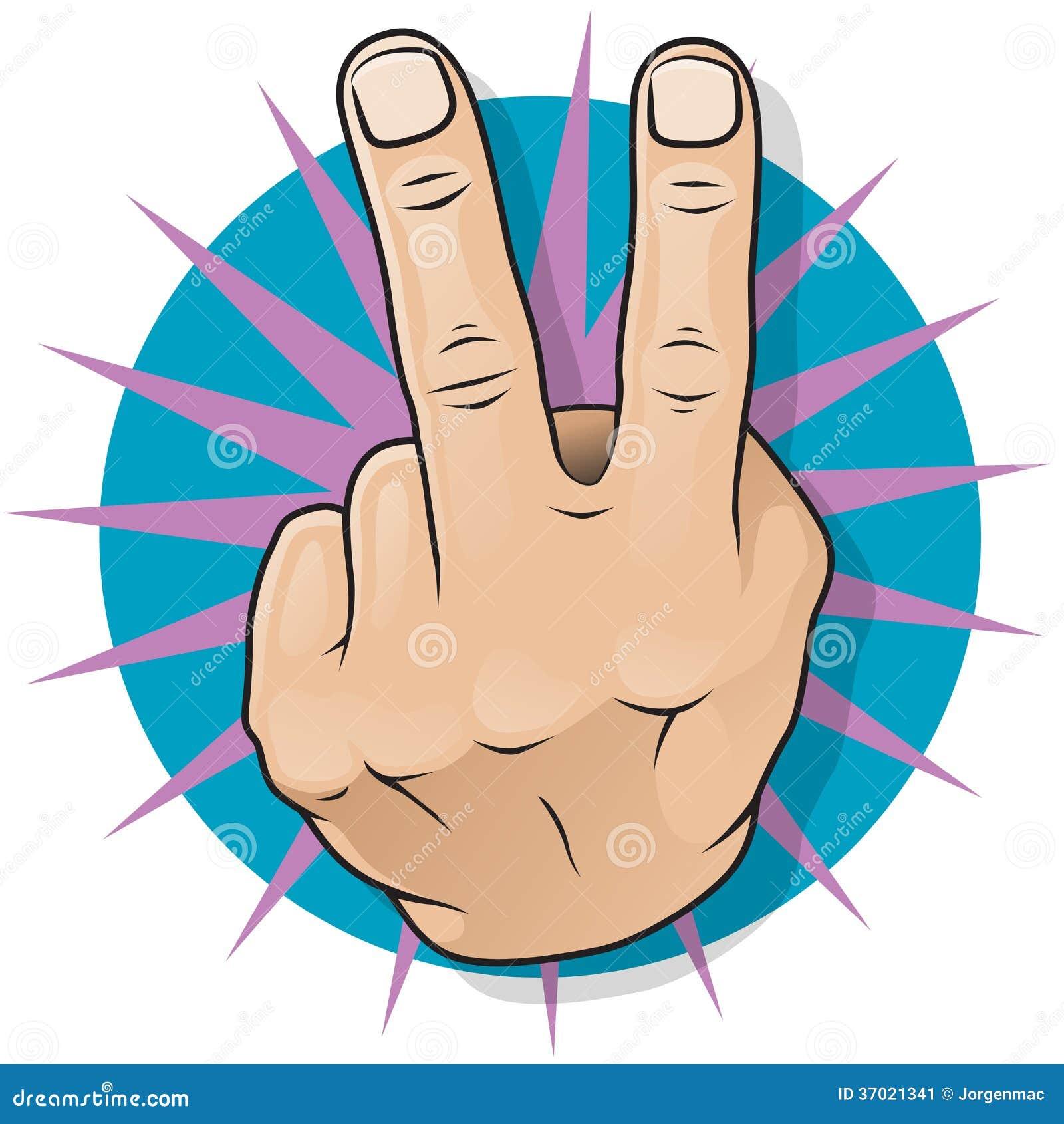 Tappningpop Art Two Fingers Up Gesture.