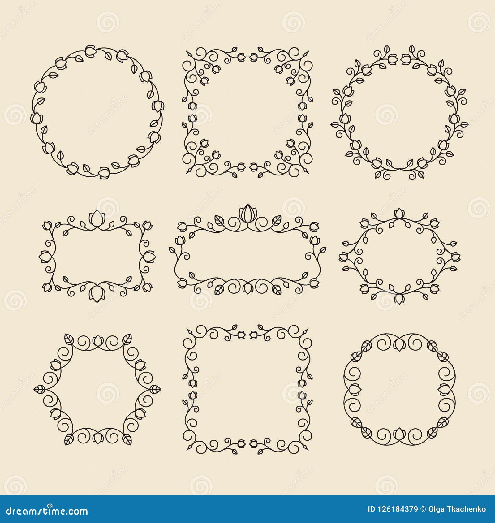 Tappningprydnader och avdelare vektor för designelementset Utsmyckade flor