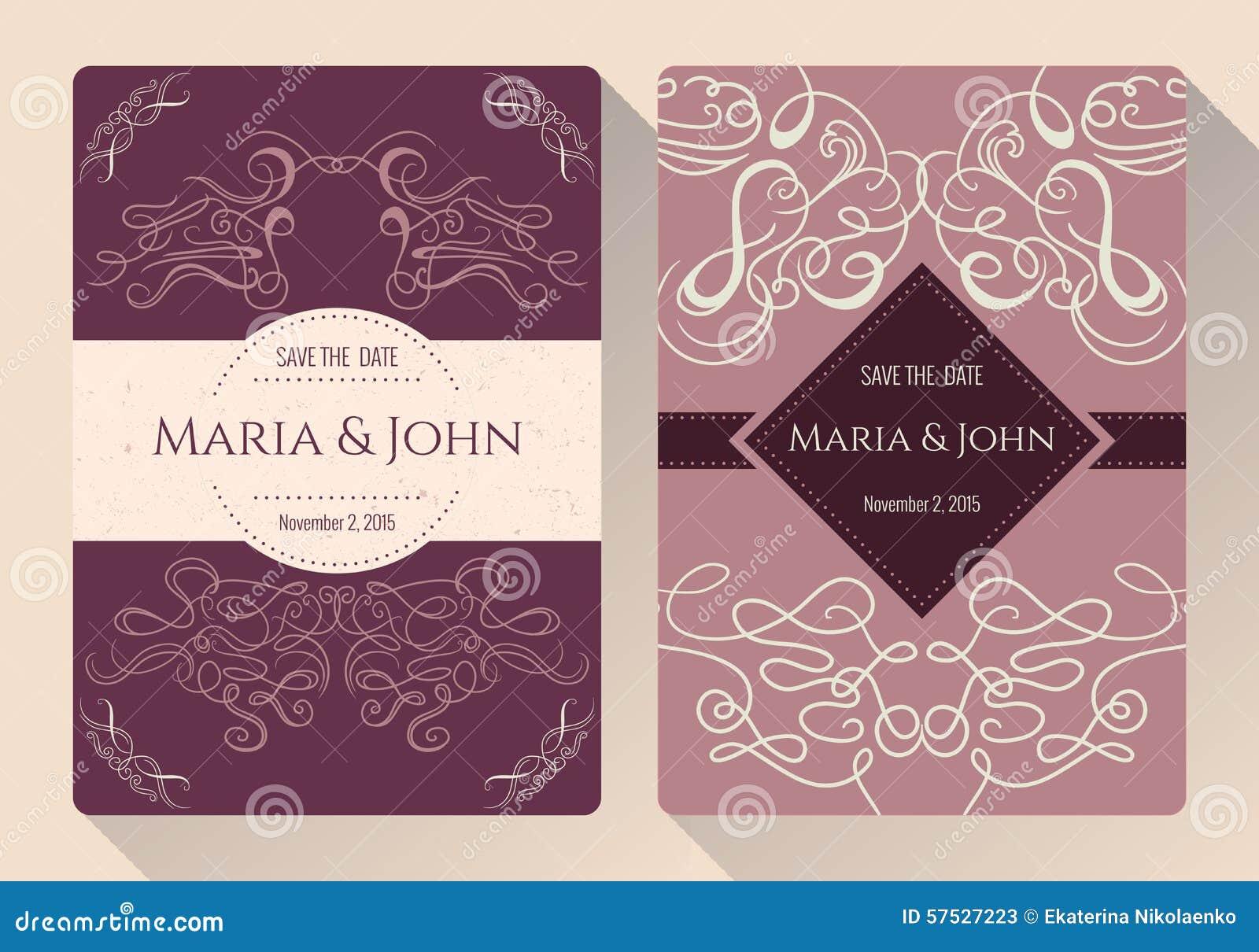 Tappningräddning samlingen för datum- eller bröllopinbjudankort med calligraphic dekorativa beståndsdelar