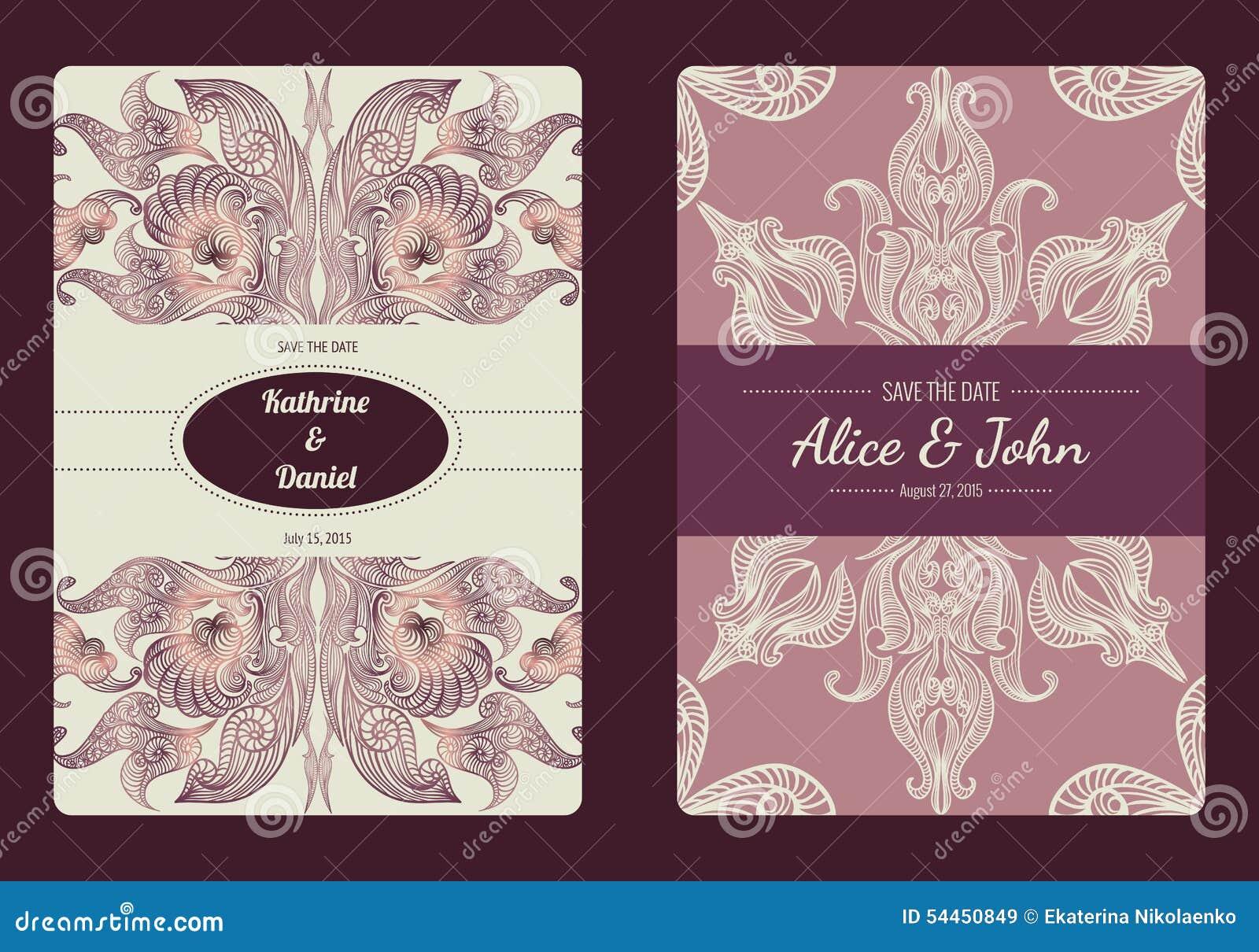 Tappningräddning samlingen för datum- eller bröllopinbjudankort Romantisk kortmall för vektor