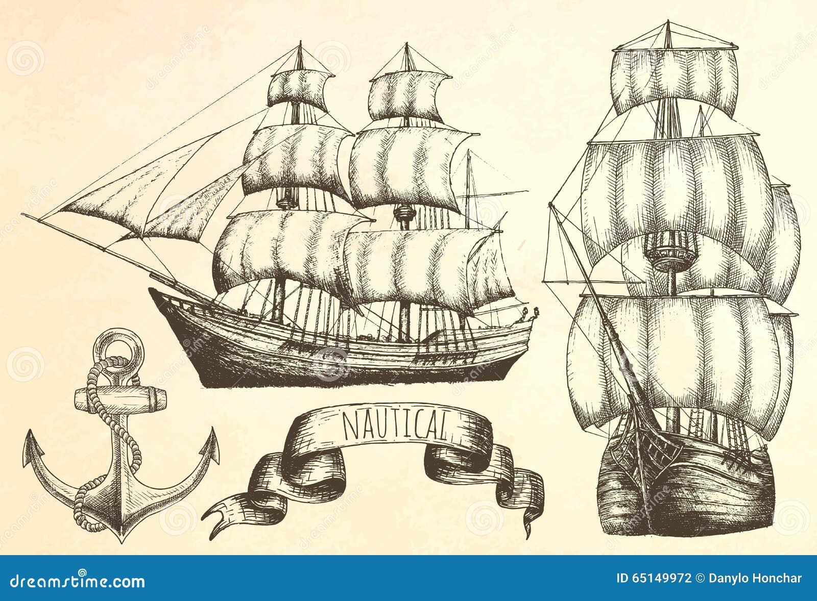 Tappningskepp Objekt på det marin- temat