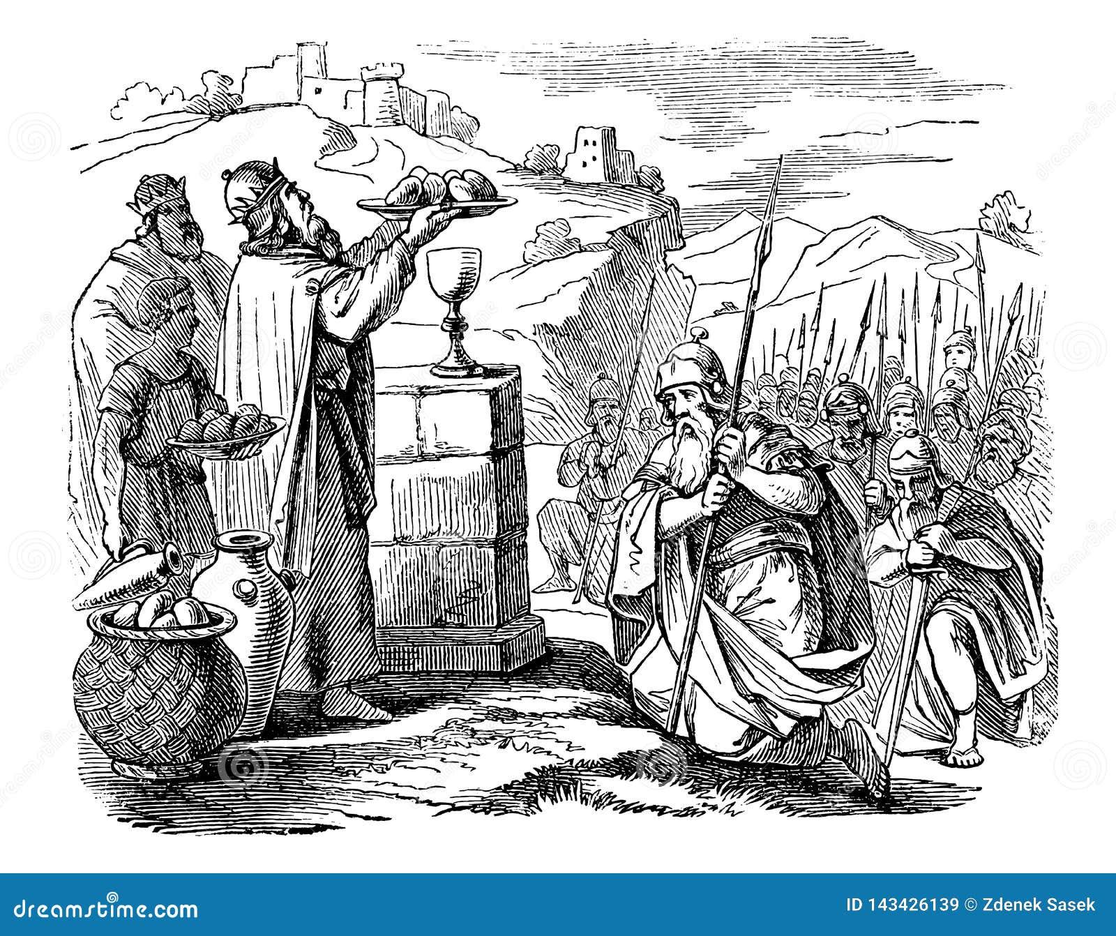 Tappningteckning av den gamla krigaremöteprästen, biblisk berättelse om Abraham och Melchizedek