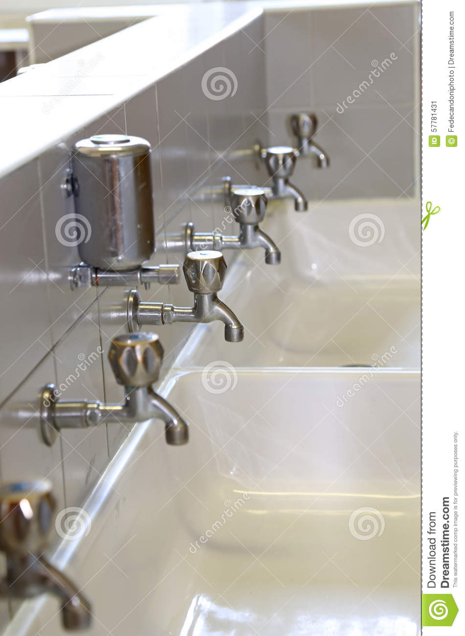 Taps At The Sink In The Bathroom Of School Stock Image - Image of ...