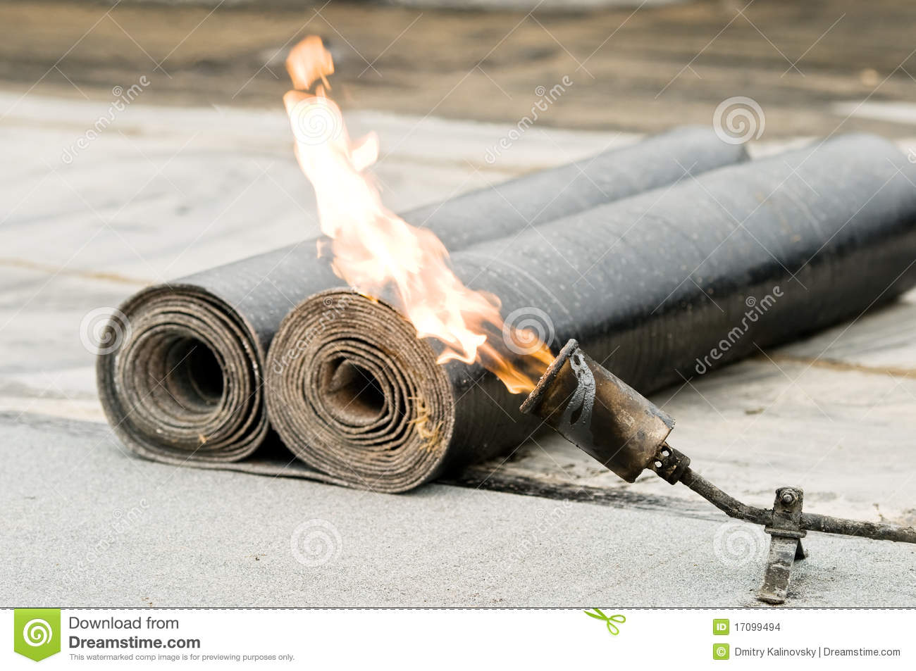Tar Roofing Felt Roll And Blowpipe Stock Photo Image