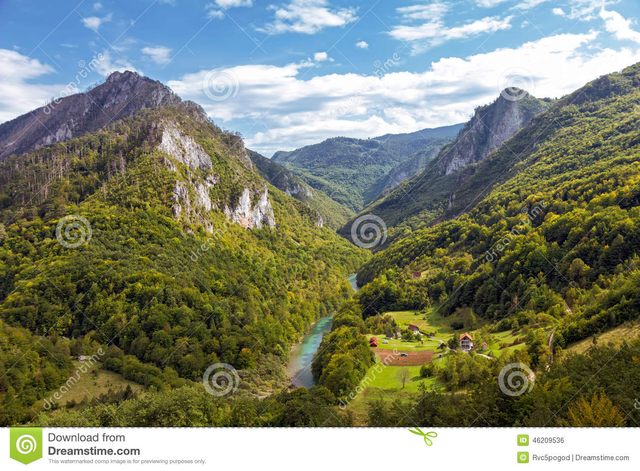 Landscape with mountains and canyon of river Tara, Montenegro.