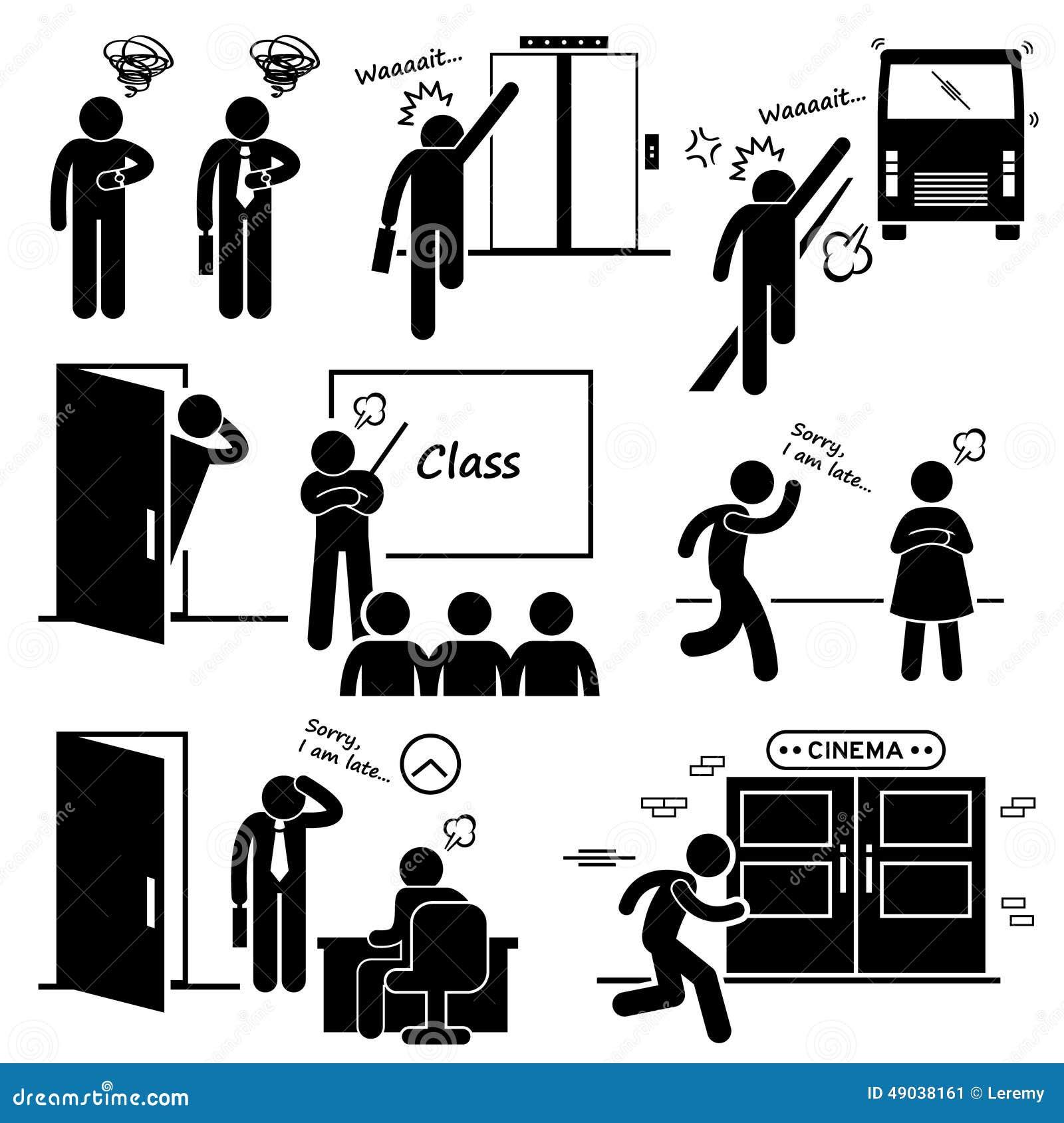Tard et se précipitant pour l ascenseur, l autobus, la classe, la date, le Job Interview, et les icônes de cinéma de film