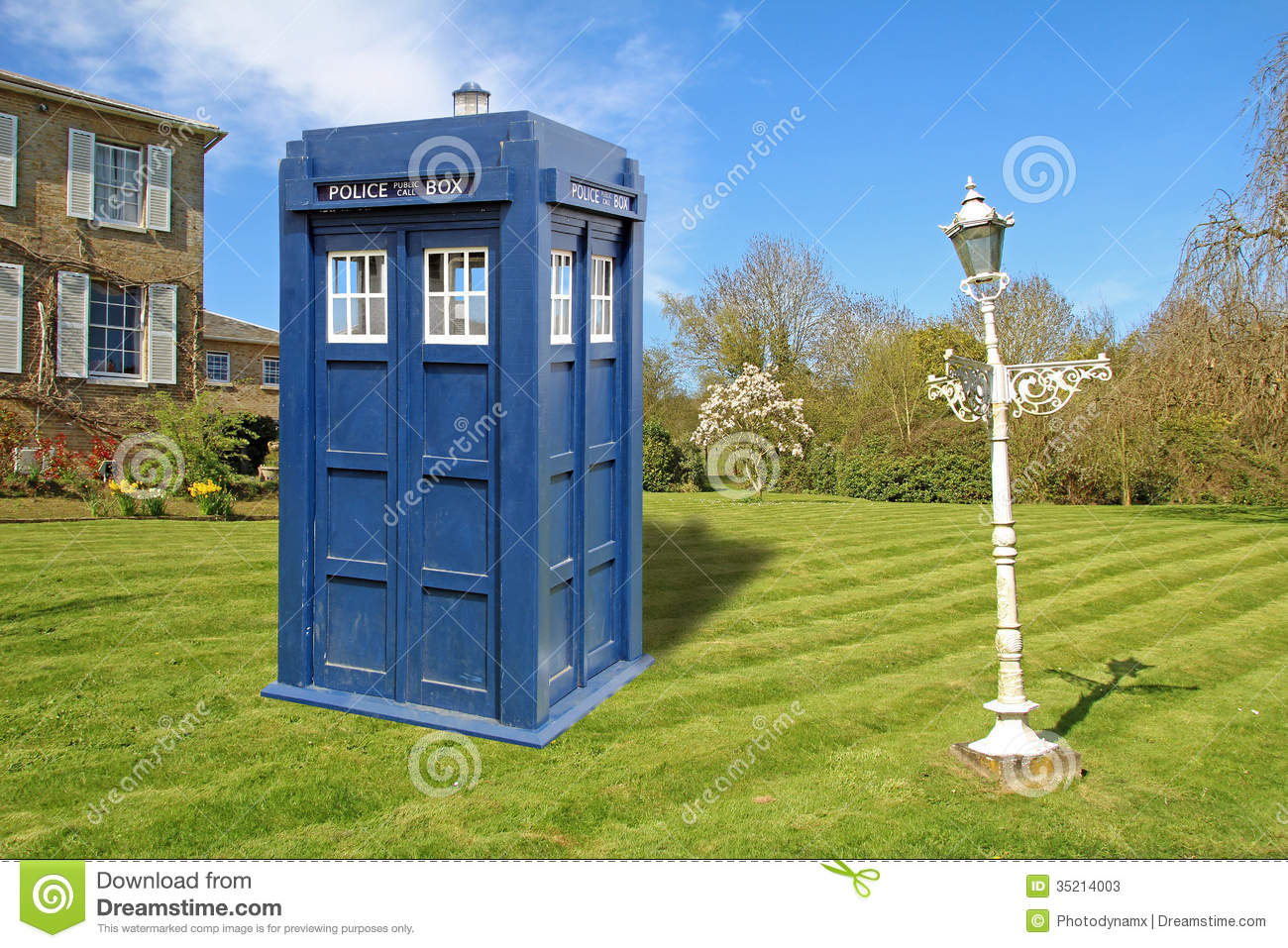Photo of dr who tardis time machine being used in garden as an unusual ...