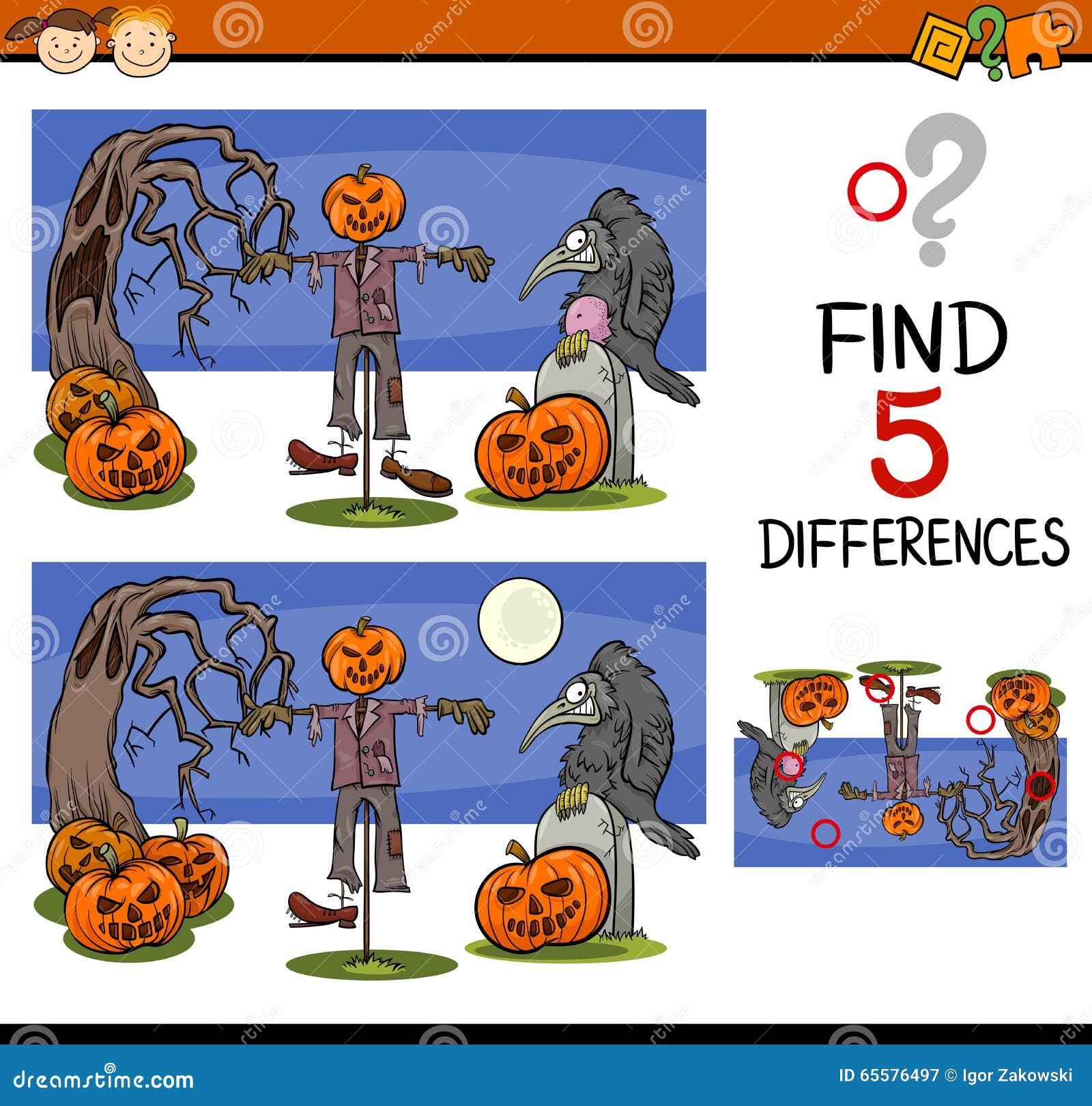 Tarefa das diferenças de Dia das Bruxas