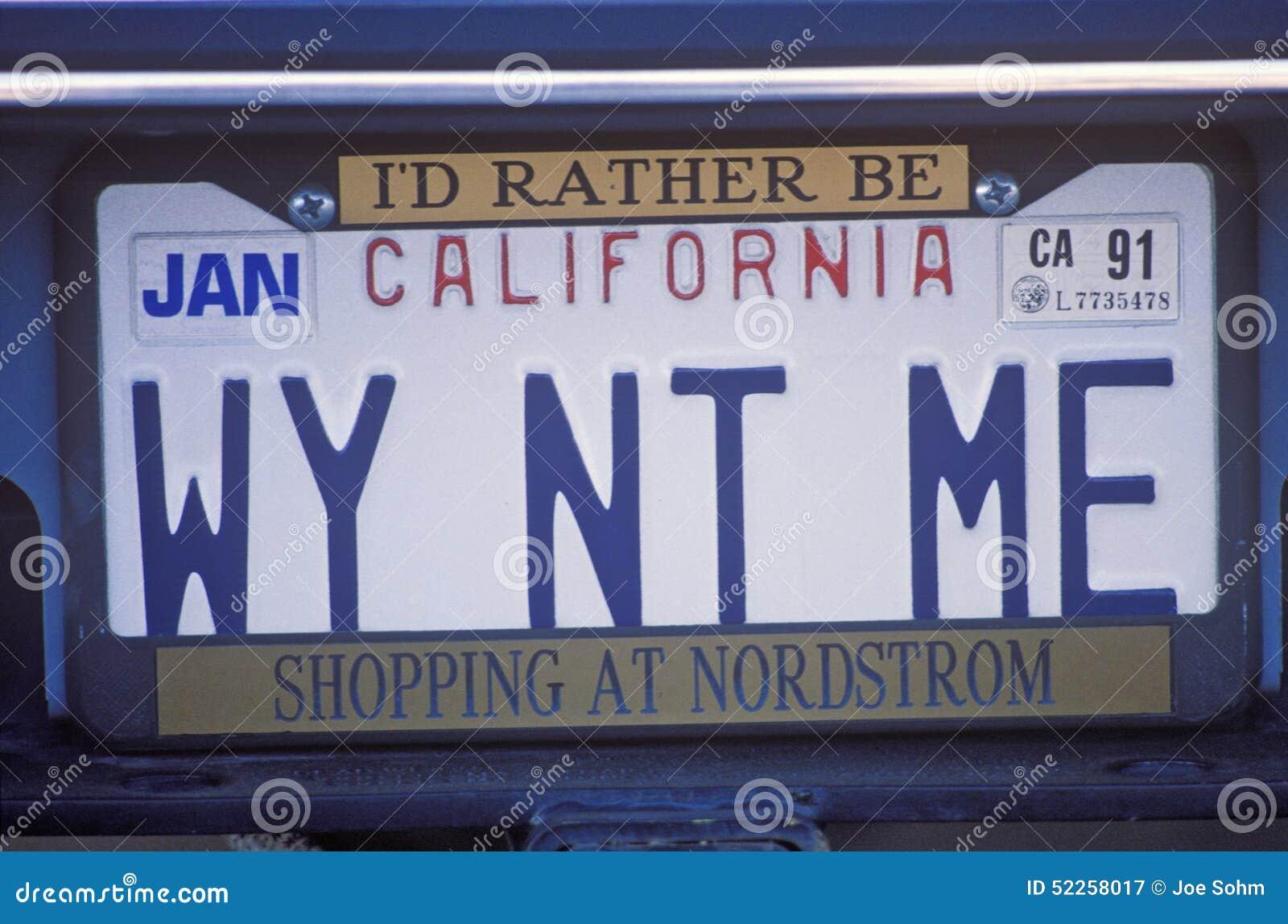 Targa di immatricolazione di vanità - California