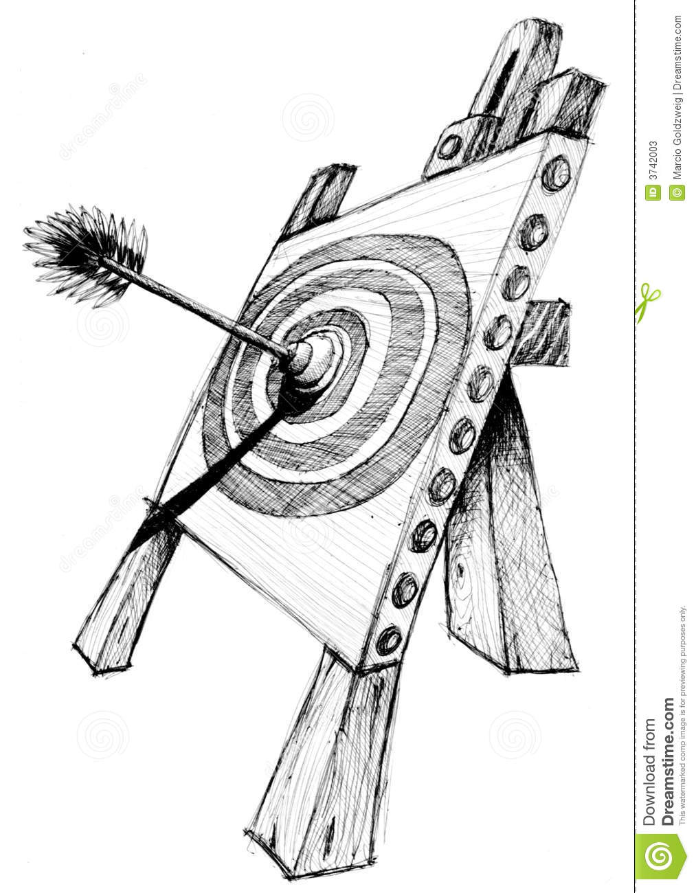 Pencil drawing for a kids arrow target