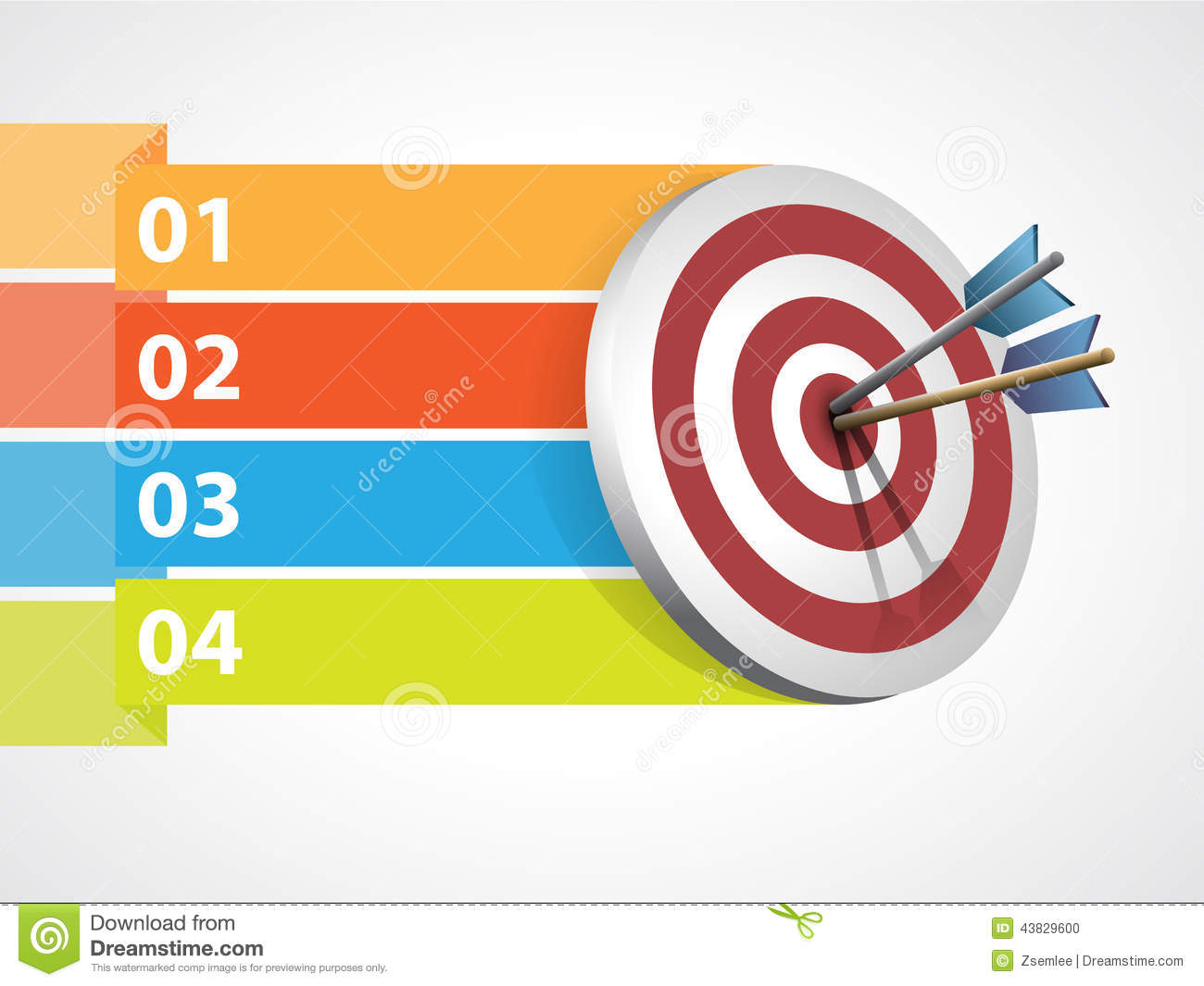 Target with arrows and graphic information