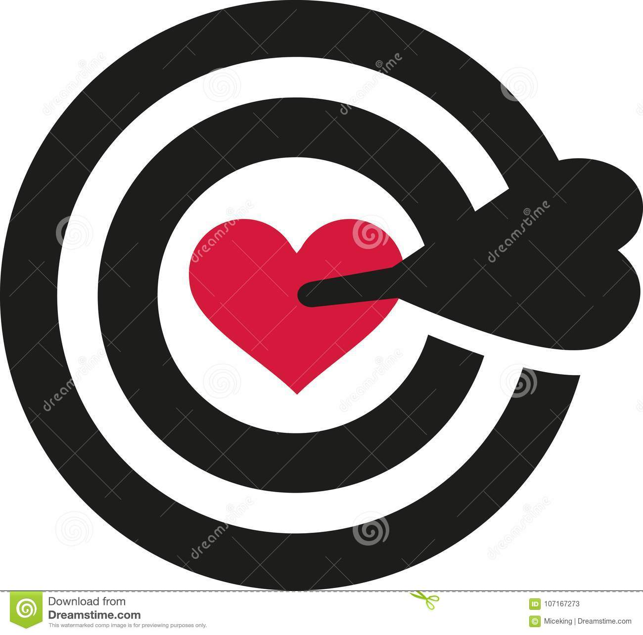 Target With Heart In The Middle Stock Vector Illustration Of