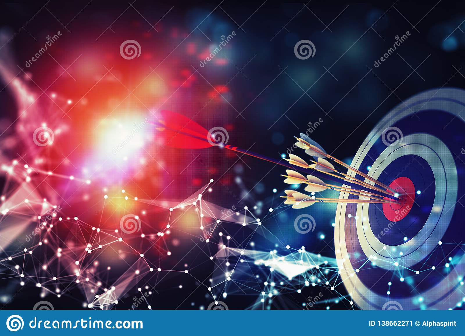 Arrow hit the center of target on abstract background with network effects. Business target achievement concept. 3D