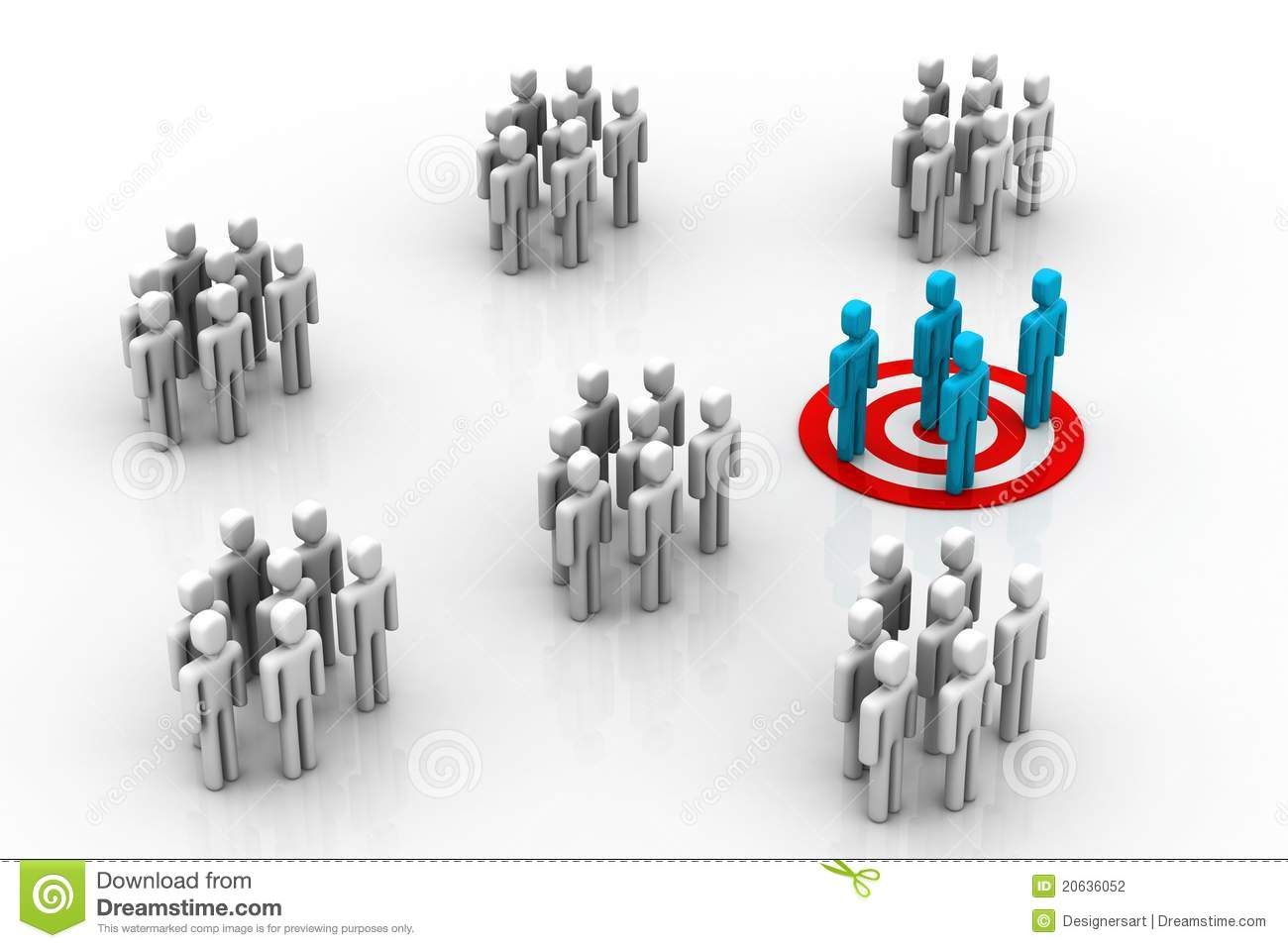 3d illustration of Target Market in white background.