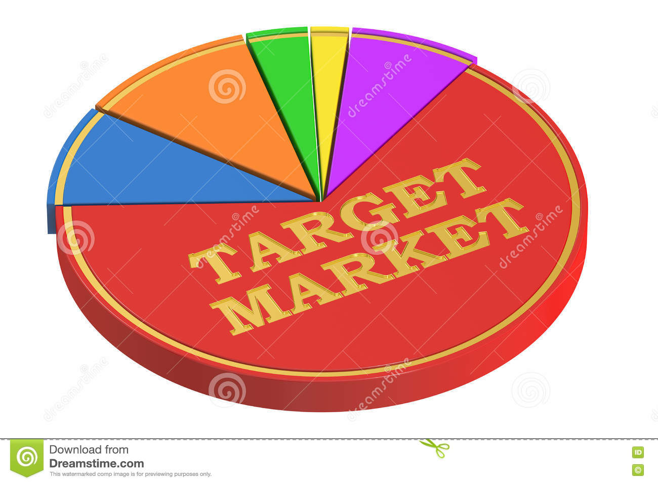 Market leader concept with pie chart stock illustration target market concept with pie chart 3d rendering stock photography nvjuhfo Gallery