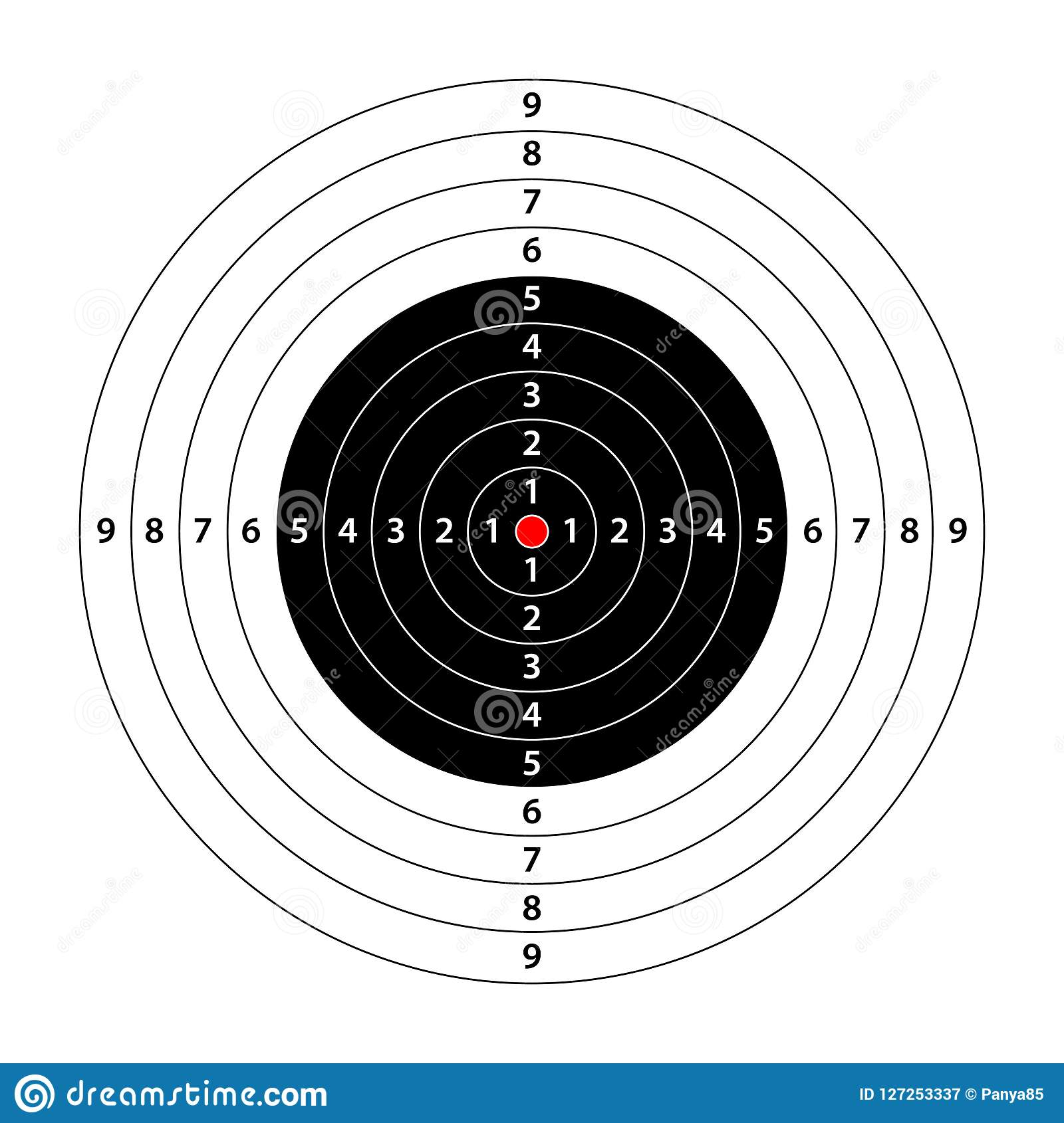target template for shooting with scores bullseye symbol stock
