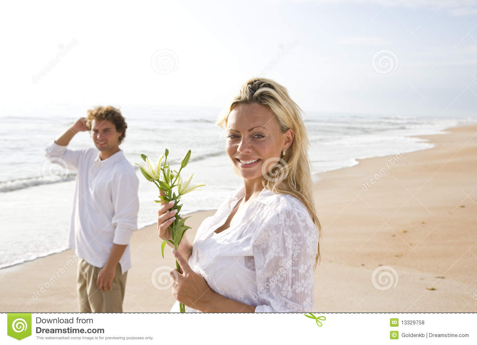 Target1165_1_ ciężarnego biel para plażowy kwiat