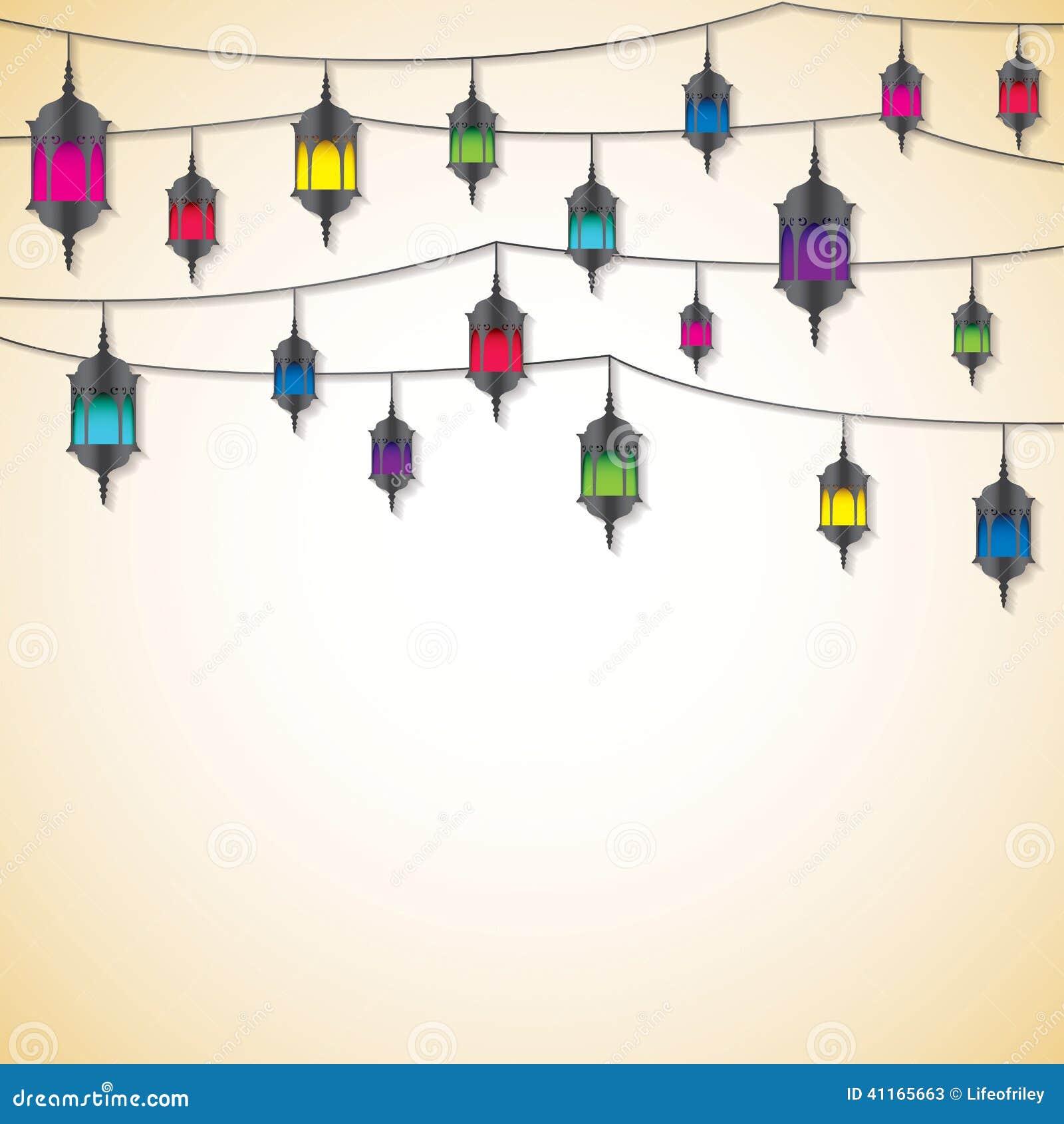 Tarjeta árabe de la linterna en formato del vector