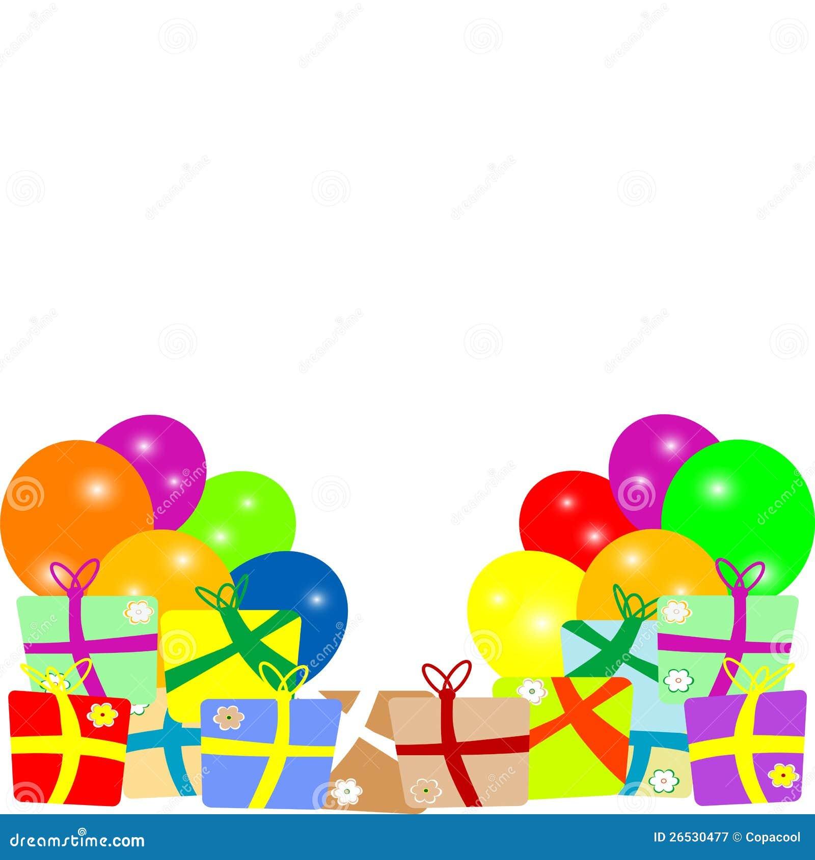 Tarjeta al cumplea os con los globos y los regalos vector - Regalos invitados cumpleanos infantiles ...