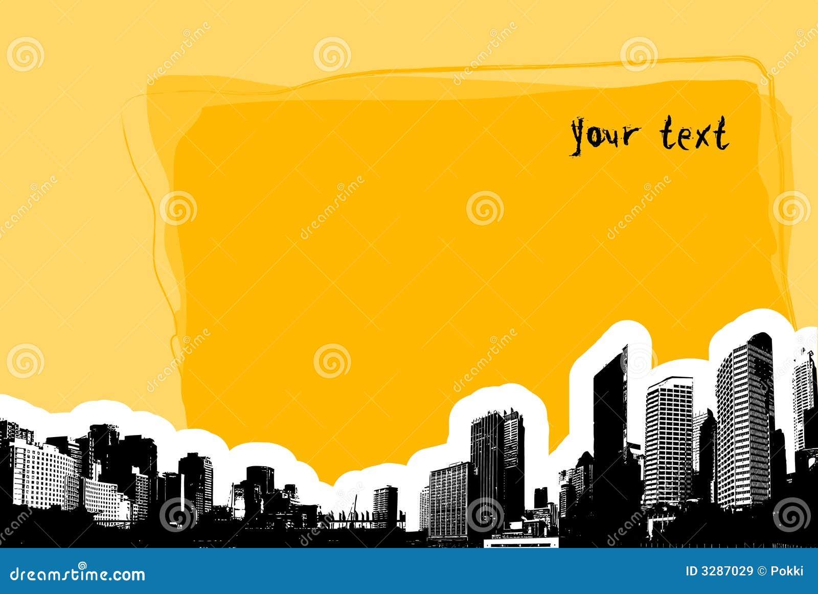 Tarjeta amarilla con la ciudad. Vector