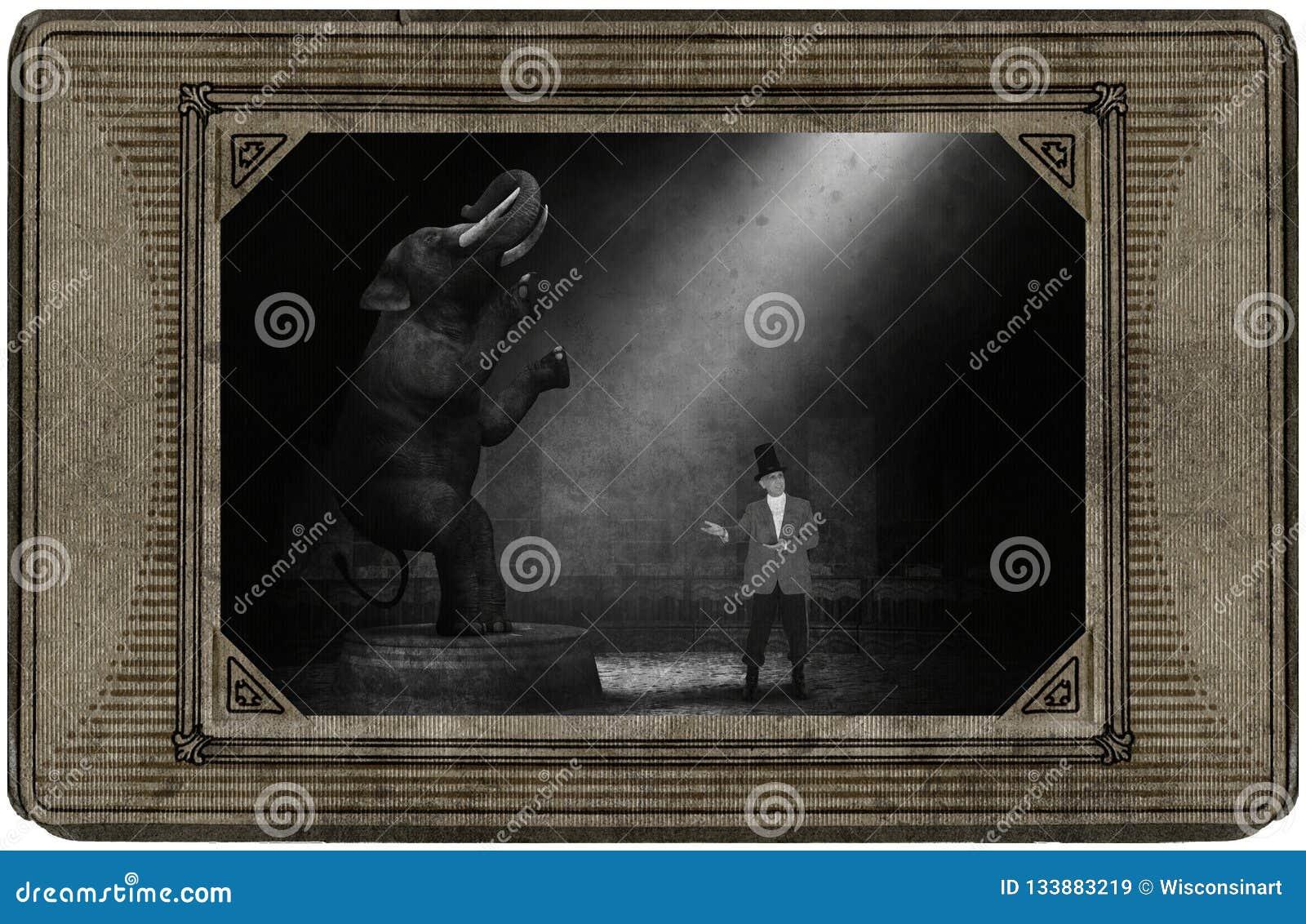 Tarjeta antigua del circo del vintage, elefante, director de pista de circo, diversión