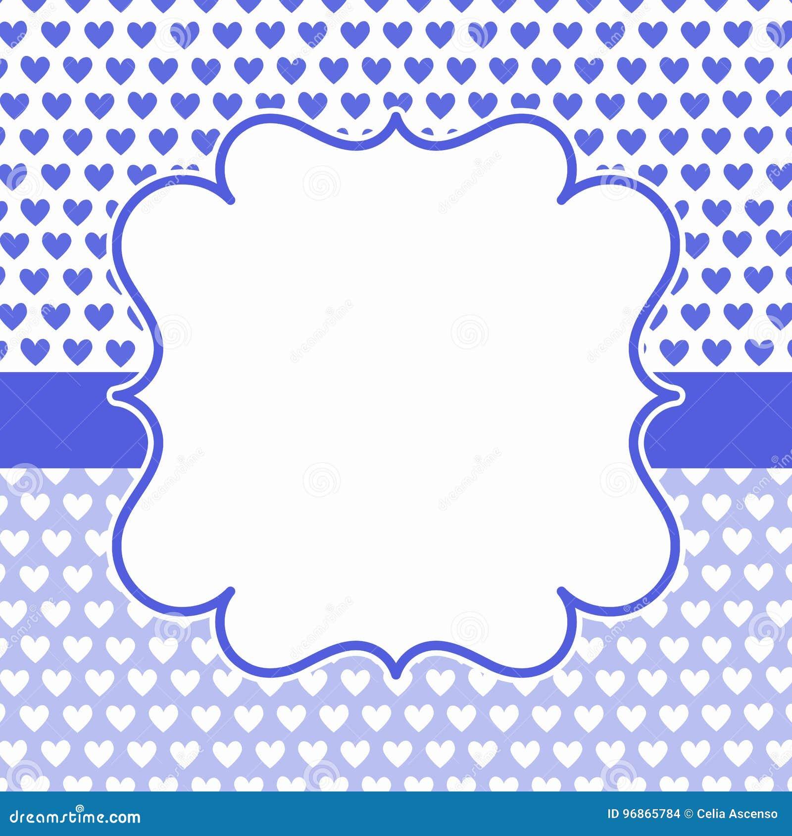 Tarjeta Azul De La Invitaci 243 N Del Marco De Los Corazones