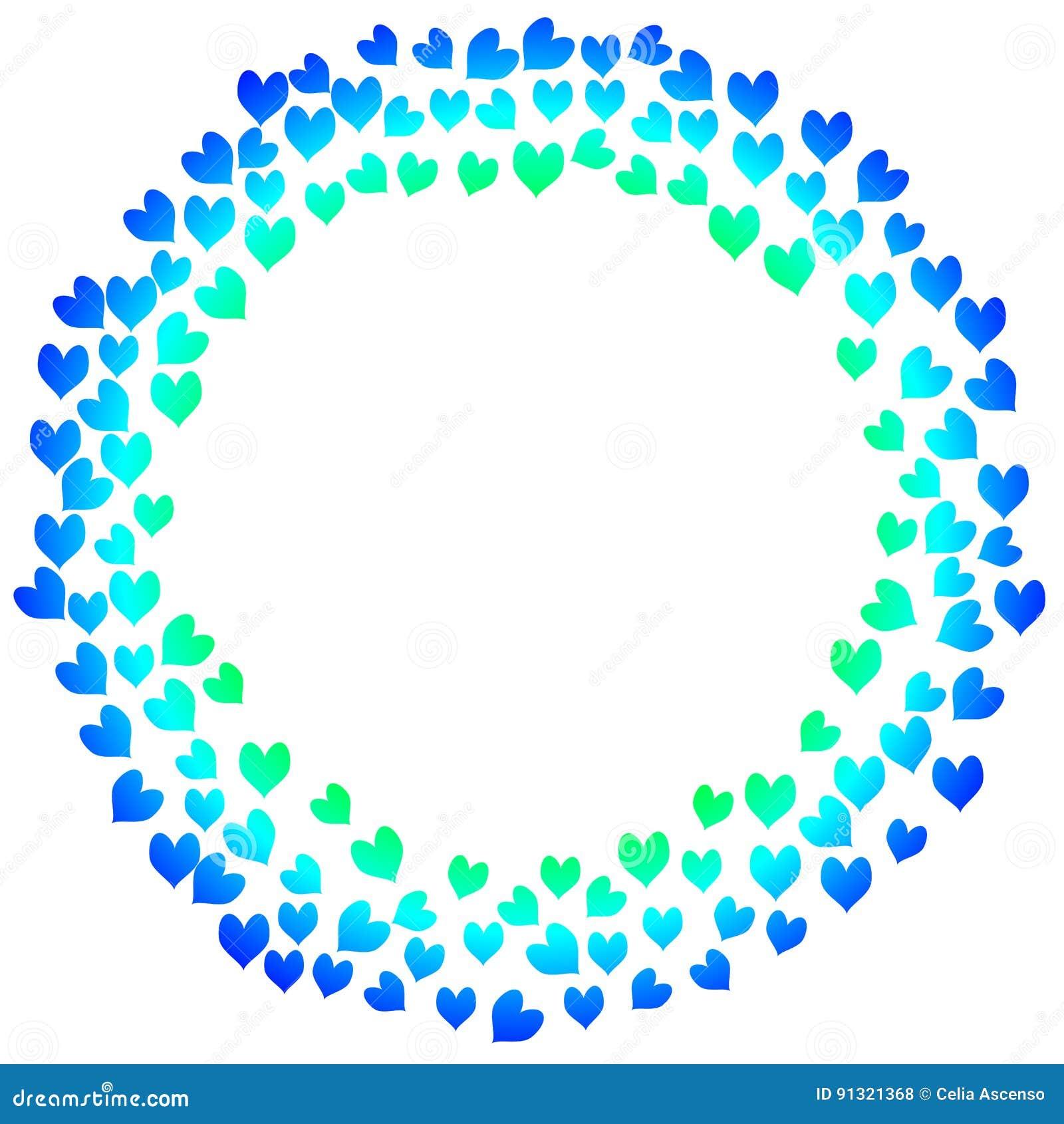 Tarjeta azul del día de tarjetas del día de San Valentín de los corazones