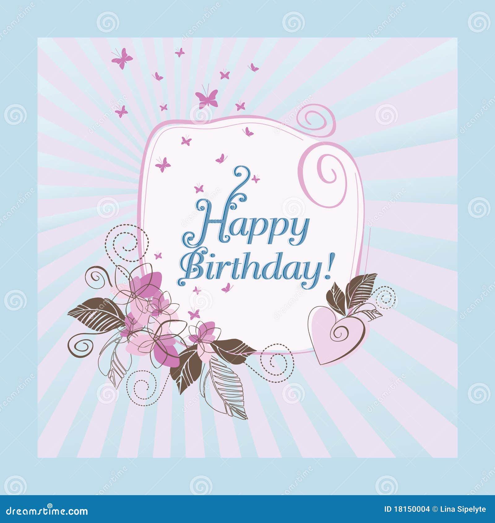 Tarjeta azul y rosada del feliz cumpleaños