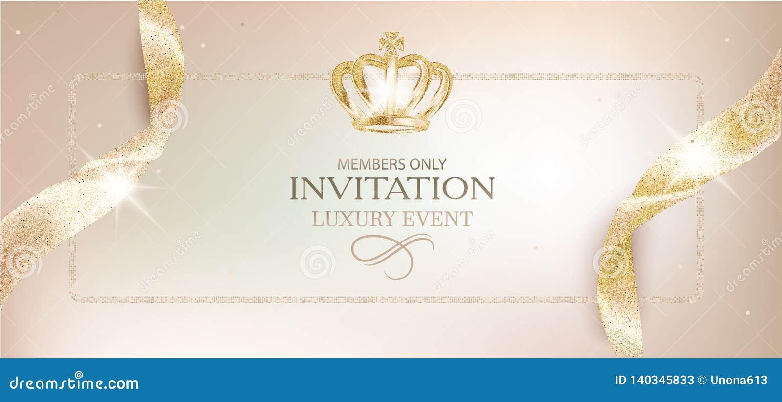 Tarjeta Beige De La Invitación Elegante Con Las Cintas Y La