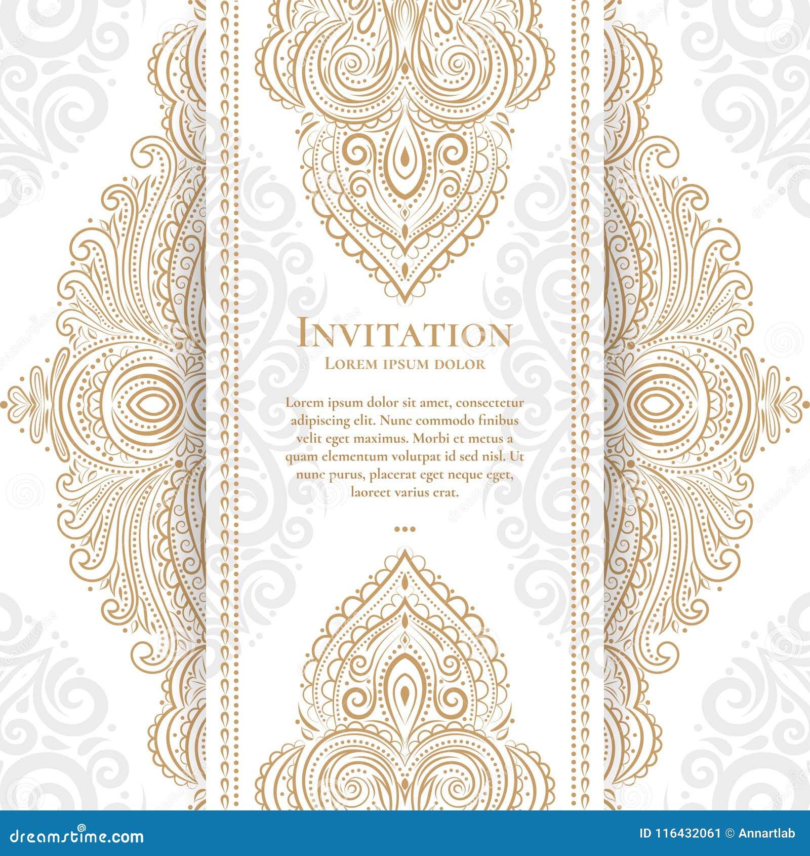 1419129706048 Tarjeta Blanca De La Invitación Con El Modelo Del Este Ilustración ...