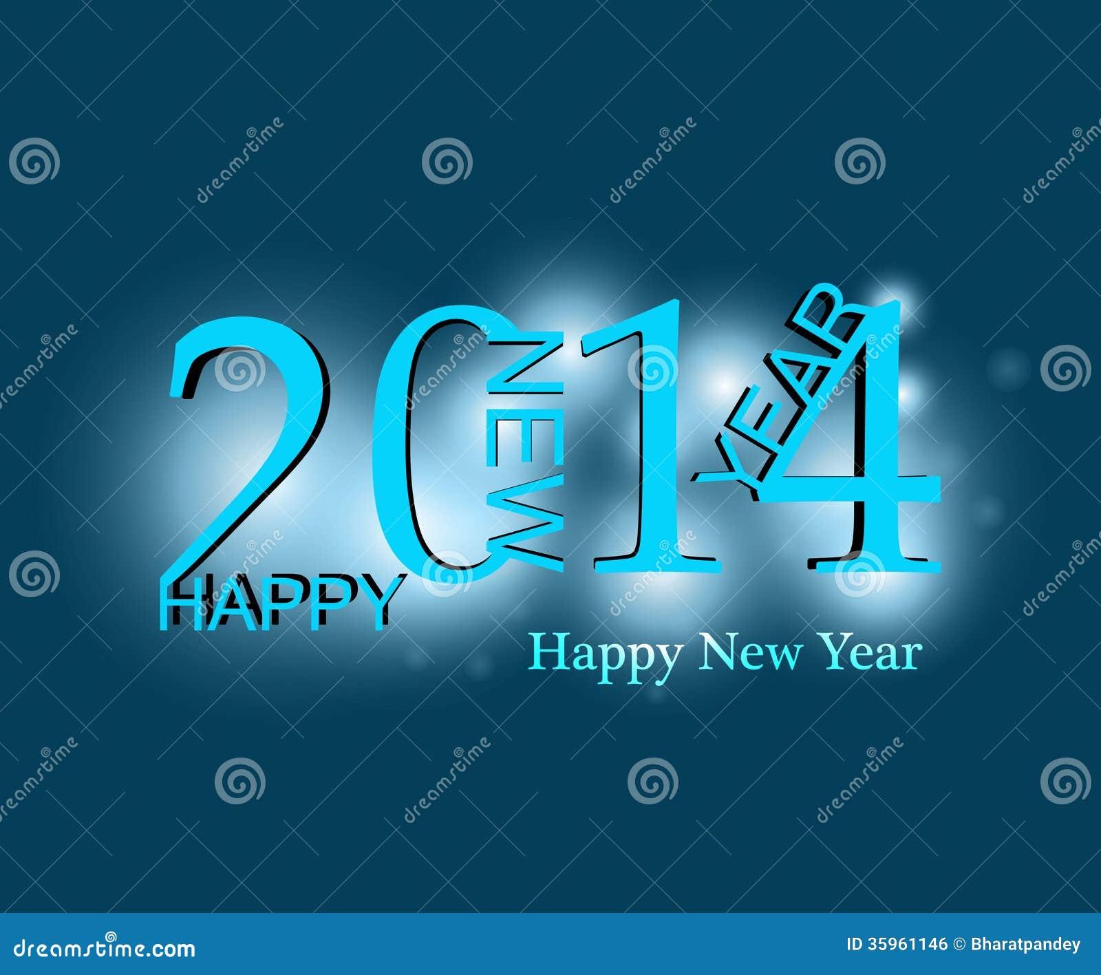 Tarjeta colorida azul elegante hermosa del Año Nuevo 2014