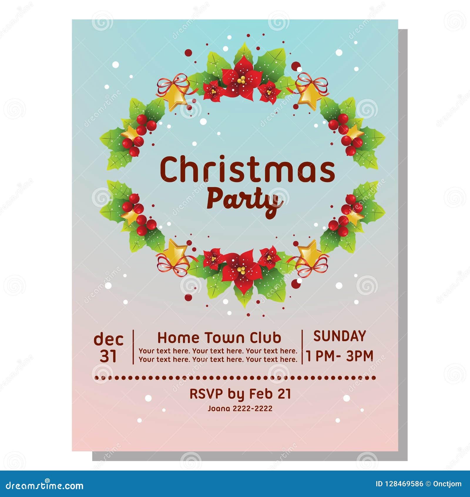 Tarjeta Colorida De La Invitación De La Fiesta De Navidad