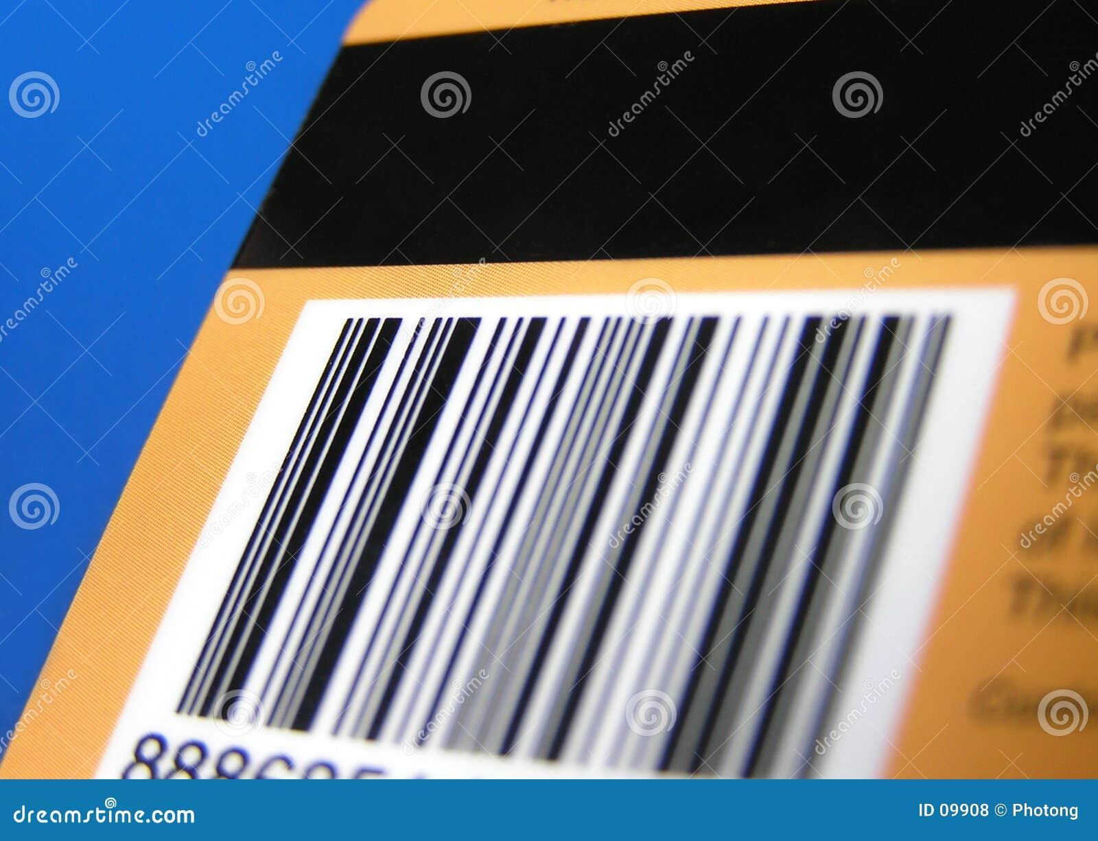 Tarjeta con el código de barras y la raya