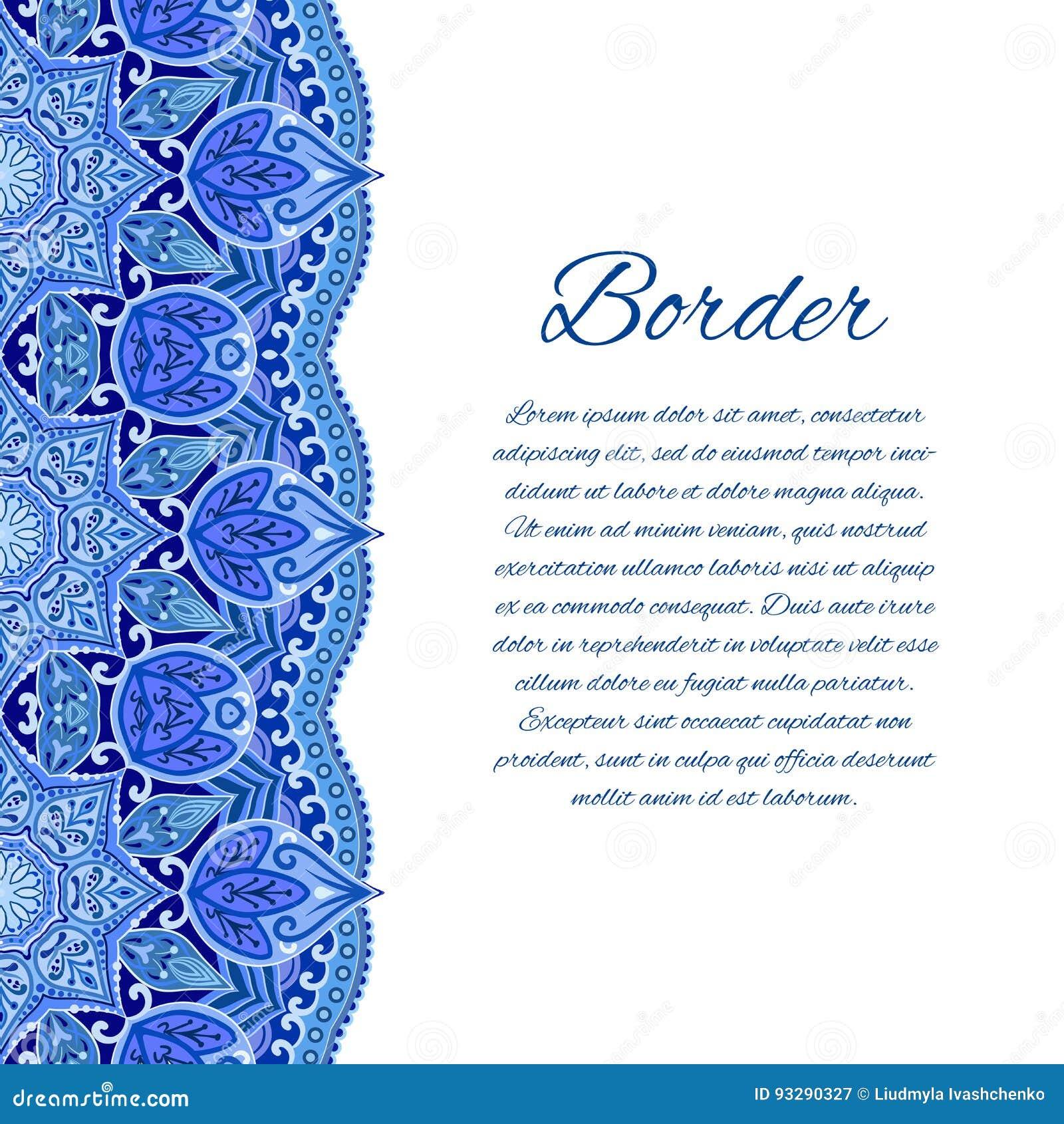 Tarjeta Con La Frontera De La Mandala Tarjeta O Invitación
