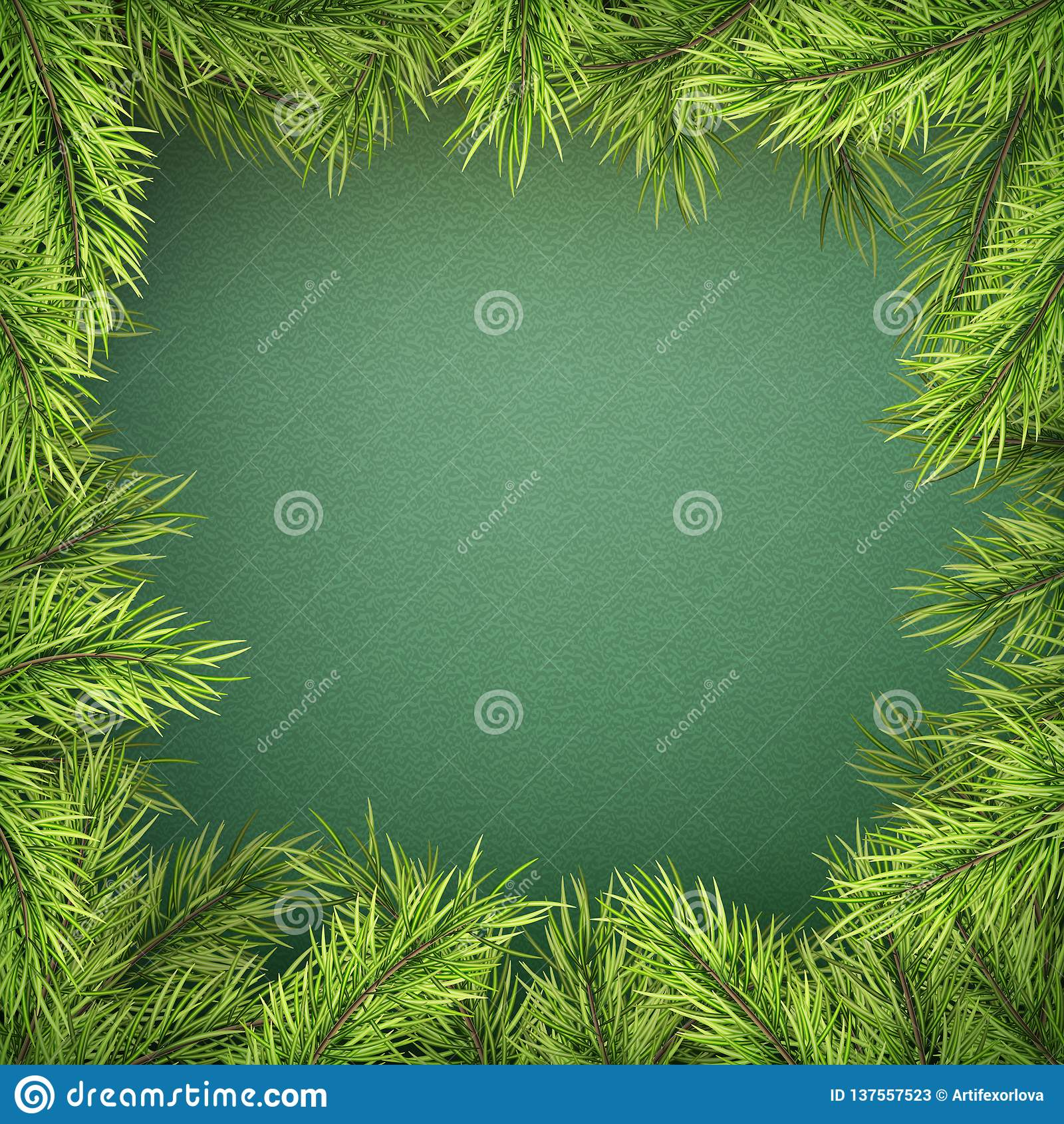 Tarjeta con la frontera del árbol de navidad, marco realista de las ramas del abeto en fondo verde EPS 10