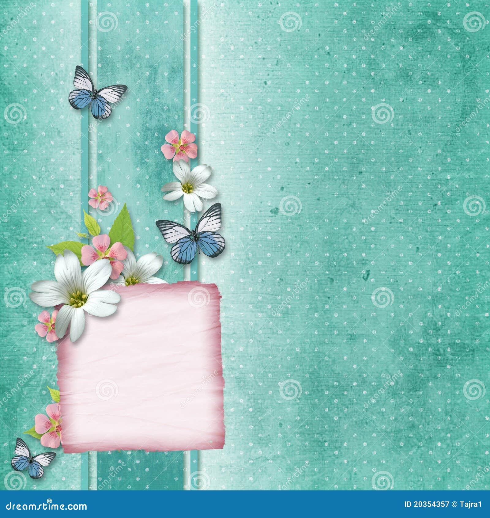 Tarjeta Con Las Flores Y La Mariposa Stock de ilustración Ilustración de viejo, cumpleaños