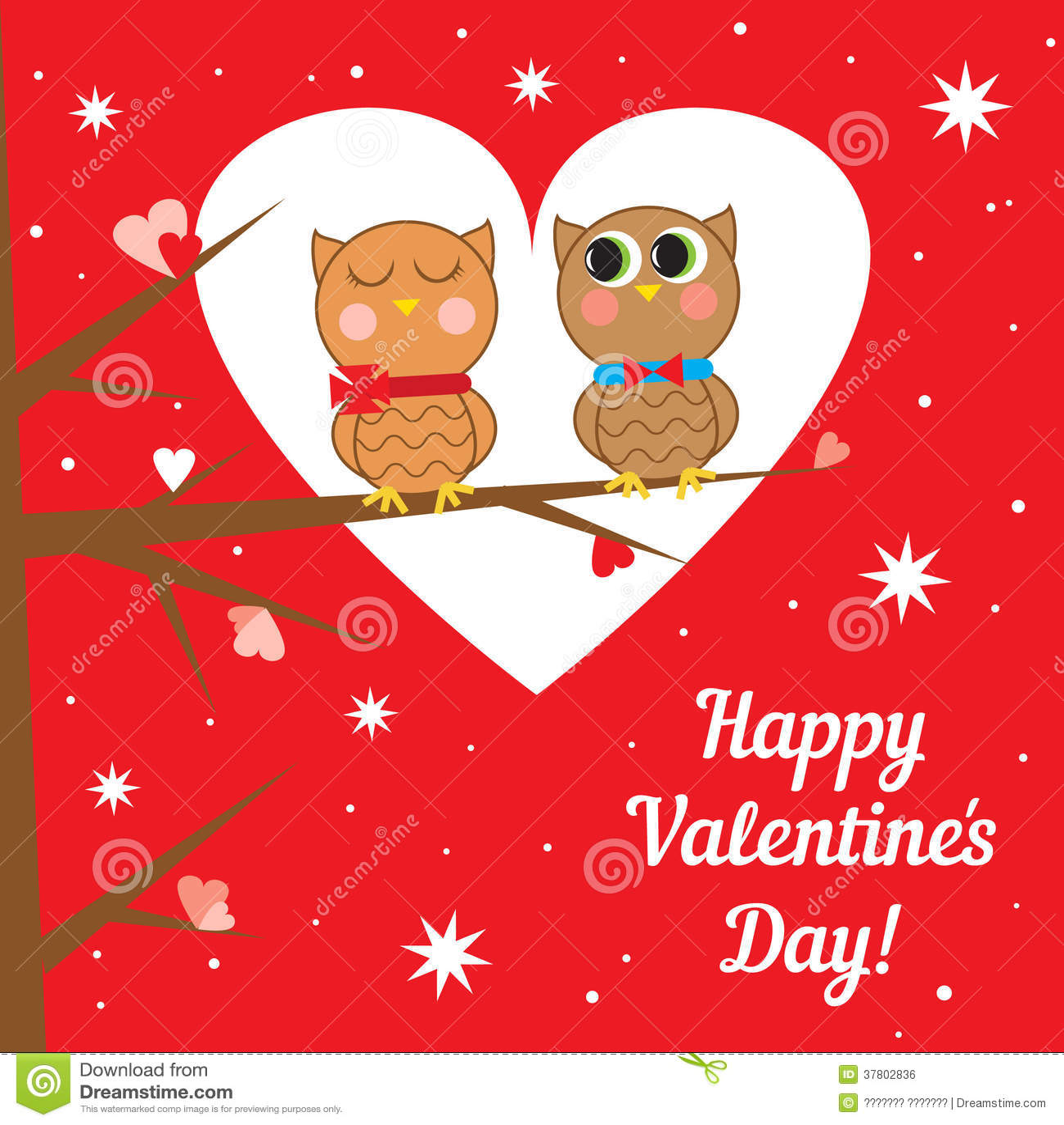 Tarjetas Para El Dia De San Valentin. Tarjeta Con Los Búhos En Día De  Tarjetas Del Día De San Valentín .
