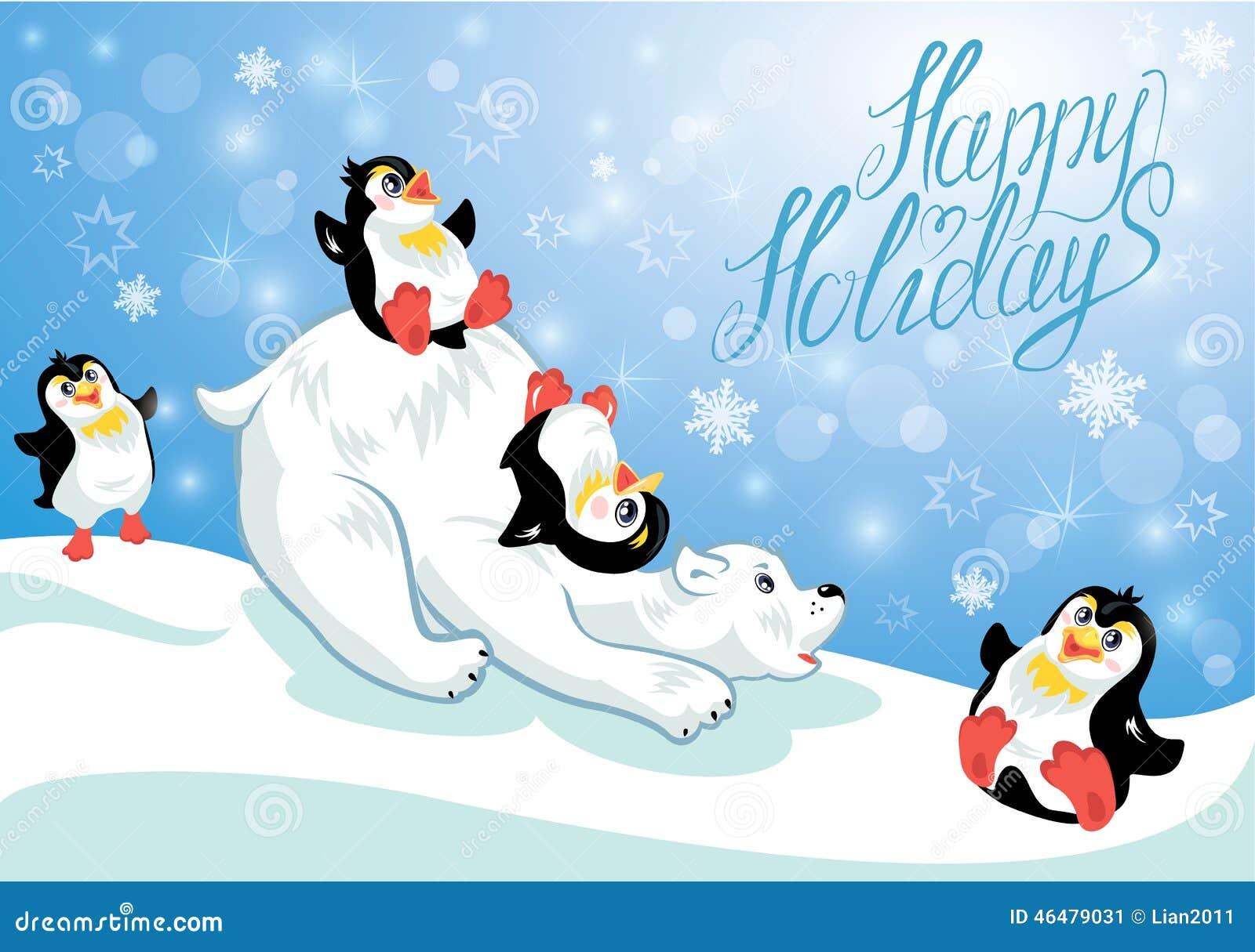 tarjeta con los pinginos divertidos y el oso polar imagen de archivo