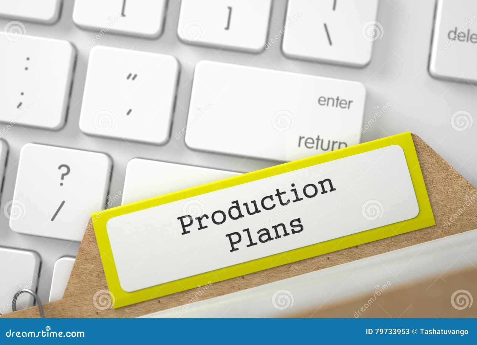 Tarjeta de índice con planes de la producción 3d