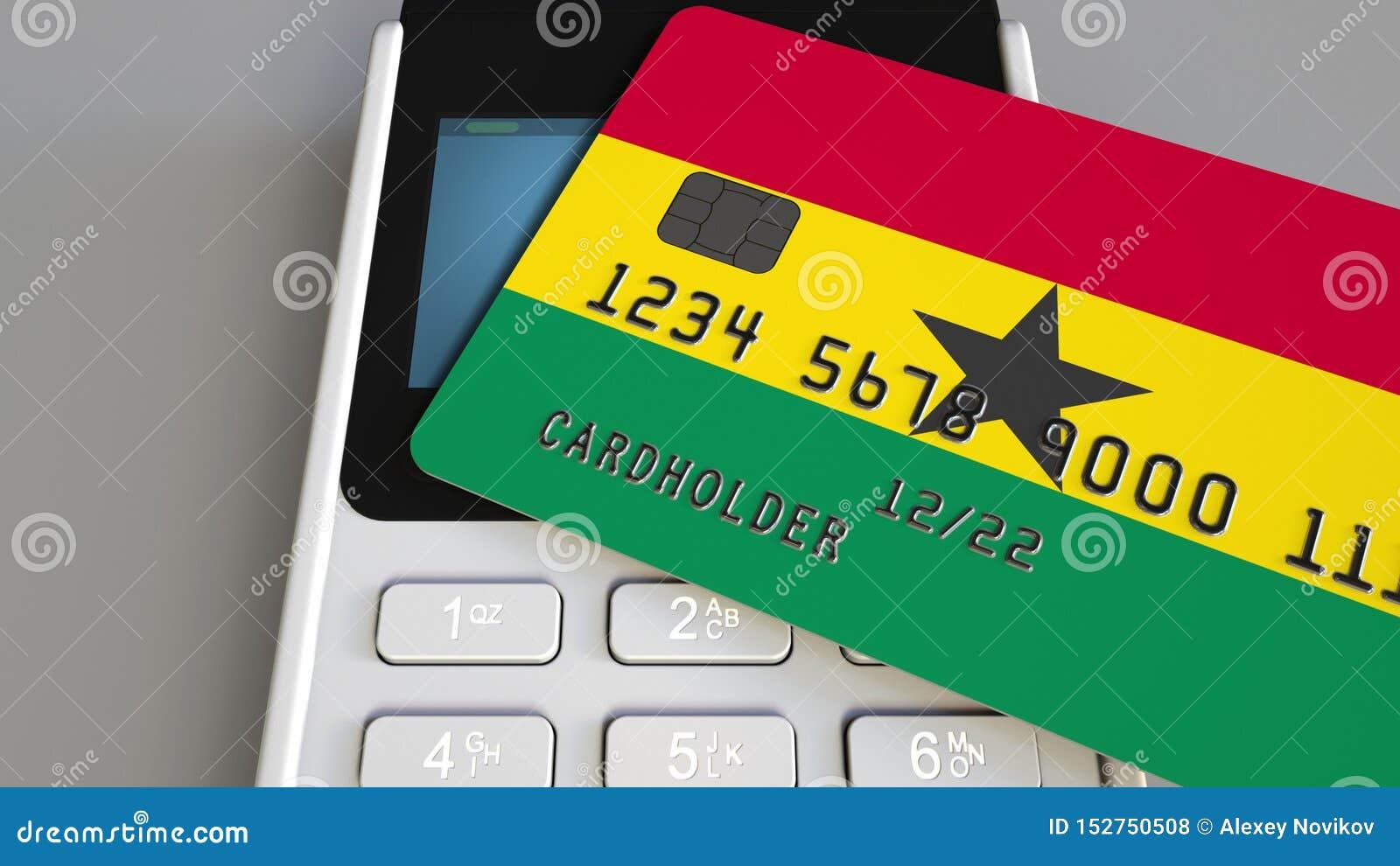 Tarjeta de banco plástica que ofrece la bandera de Ghana y del terminal del pago de la posición Sistema bancario ghanés o 3D rela
